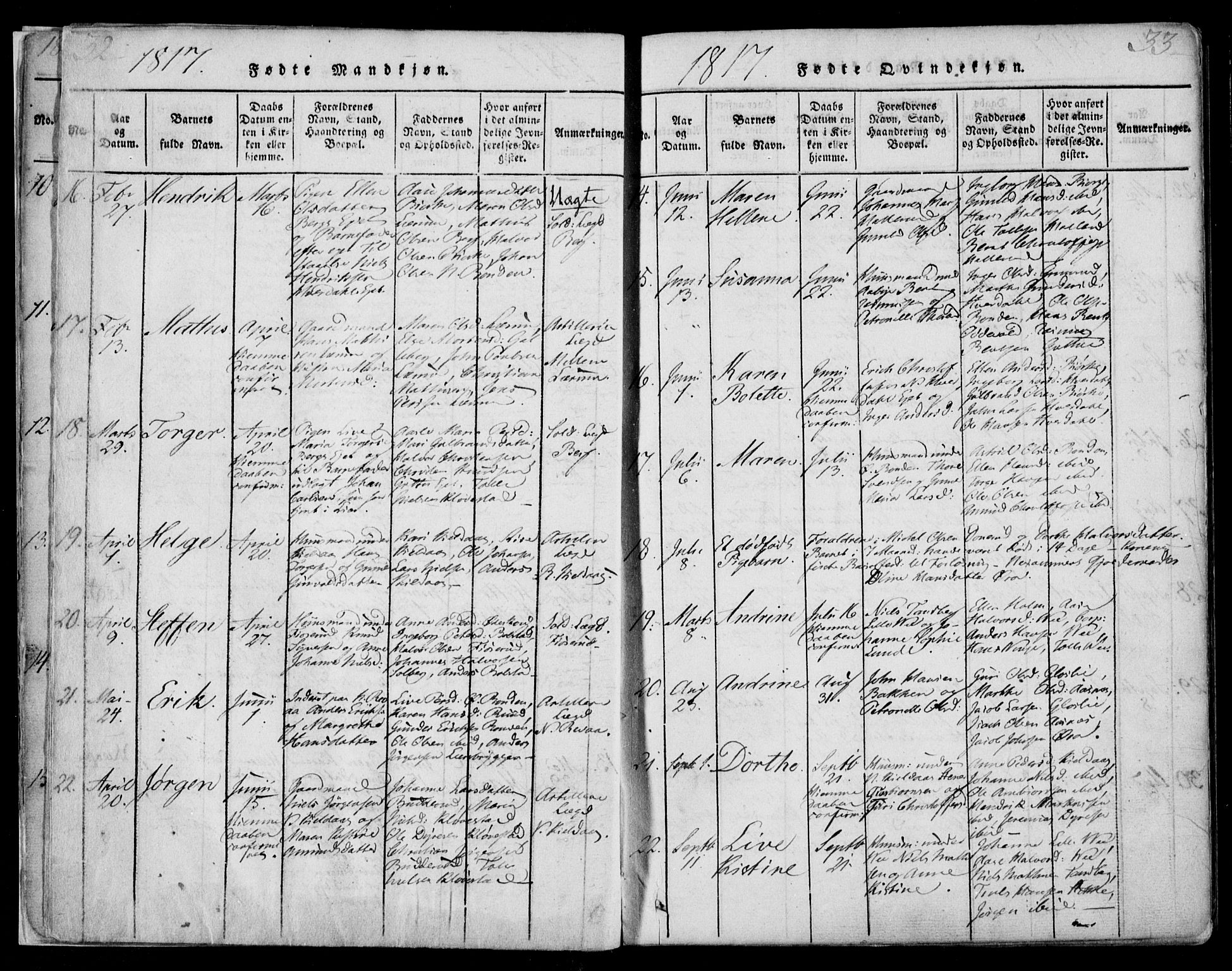 SAKO, Sande Kirkebøker, F/Fa/L0003: Ministerialbok nr. 3, 1814-1847, s. 32-33