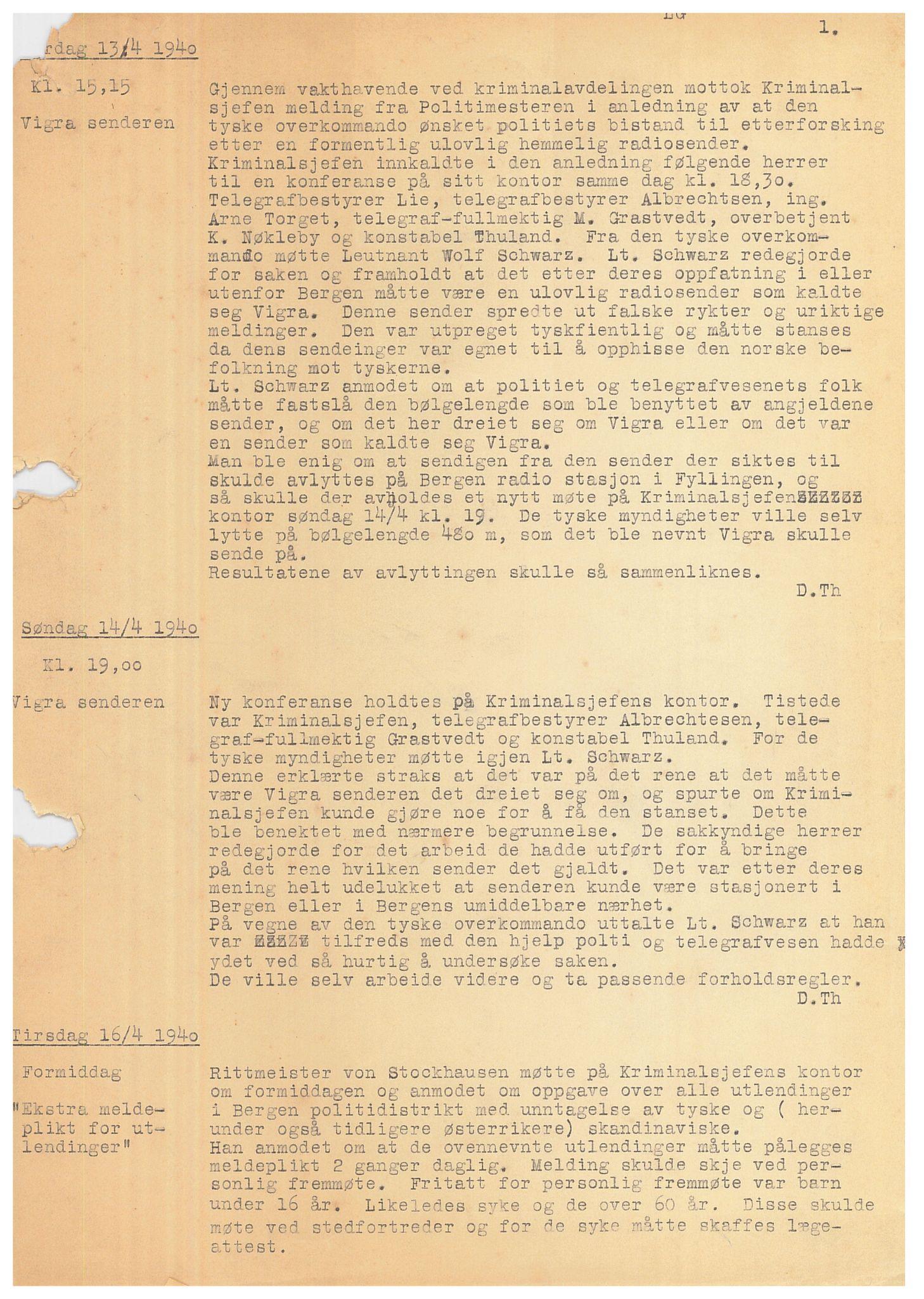 SAB, Bergen politidistrikt, Y/Ye/L0001: Avskrift av krigsdagbok av Dankert Thuland, 1940-1941, s. 1