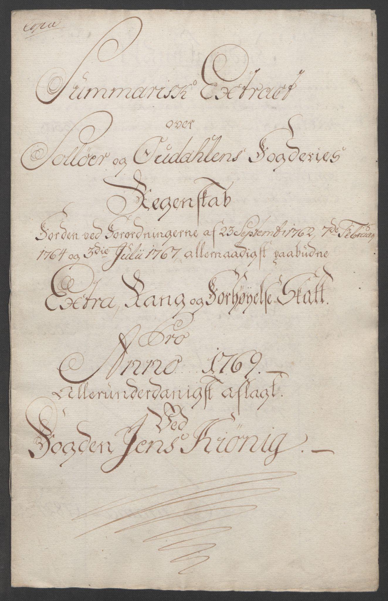 RA, Rentekammeret inntil 1814, Reviderte regnskaper, Fogderegnskap, R14/L0959: Ekstraskatten Solør og Odal, 1763-1770, s. 602