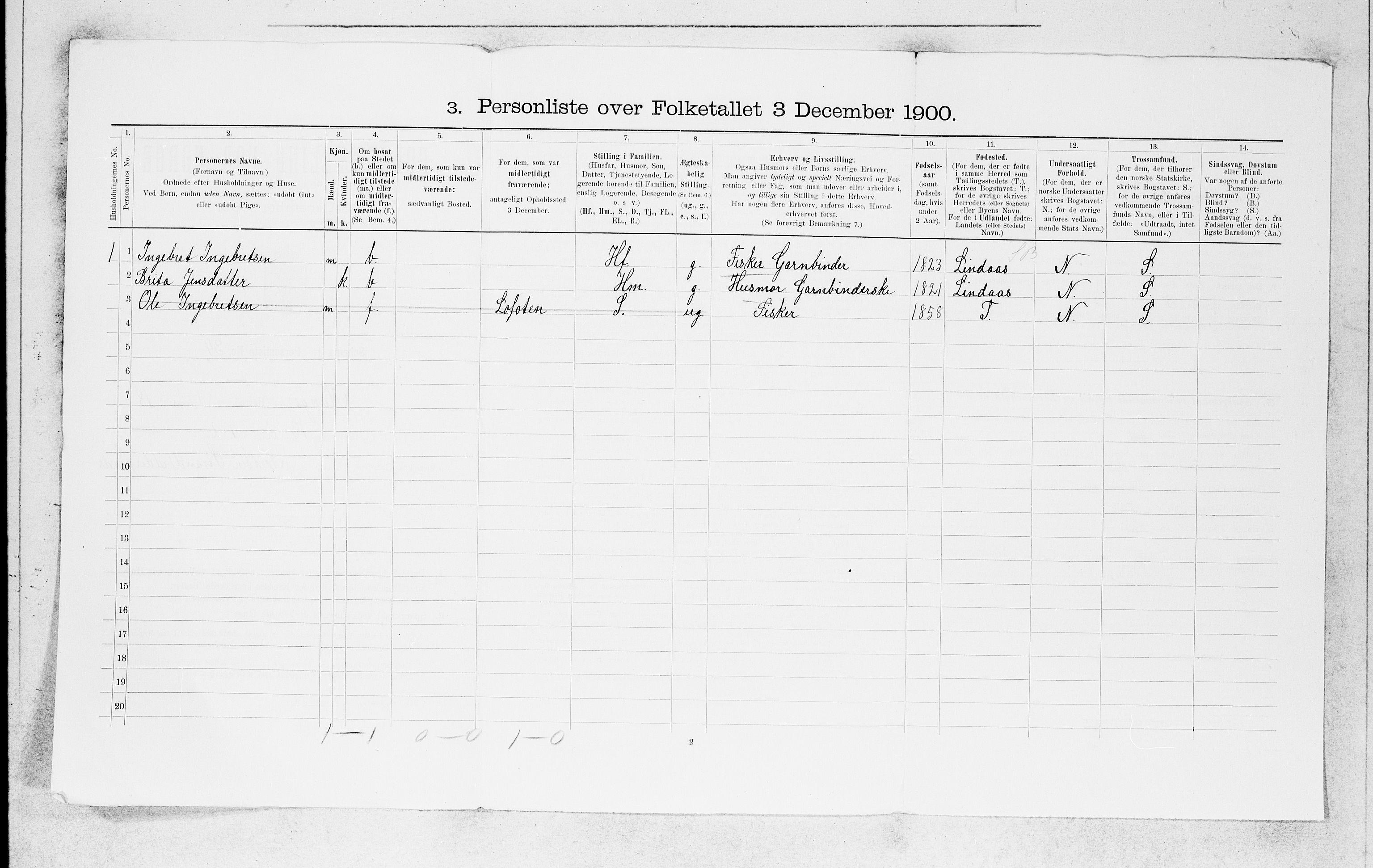 SAB, Folketelling 1900 for 1261 Manger herred, 1900, s. 1760