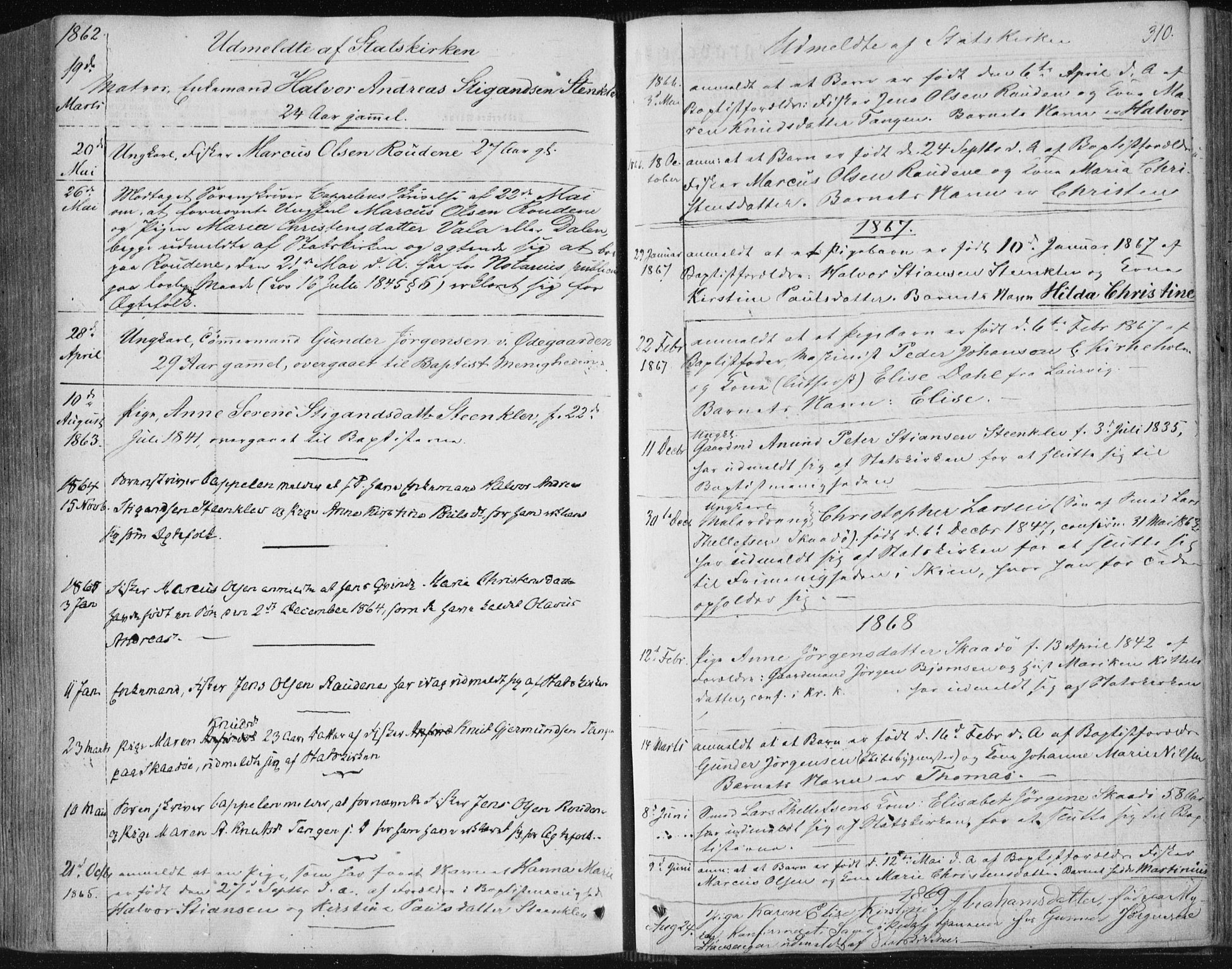 SAKO, Sannidal kirkebøker, F/Fa/L0008: Ministerialbok nr. 8, 1847-1862, s. 310