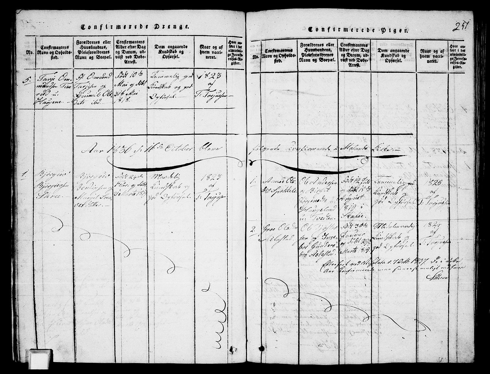 SAKO, Fyresdal kirkebøker, G/Ga/L0003: Klokkerbok nr. I 3, 1815-1863, s. 251