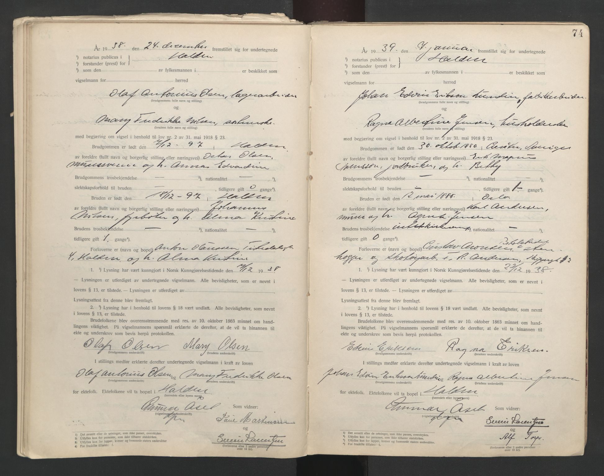 SAO, Idd og Marker sorenskriveri, L/Lc/L0001: Vigselsbøker, 1920-1942, s. 74