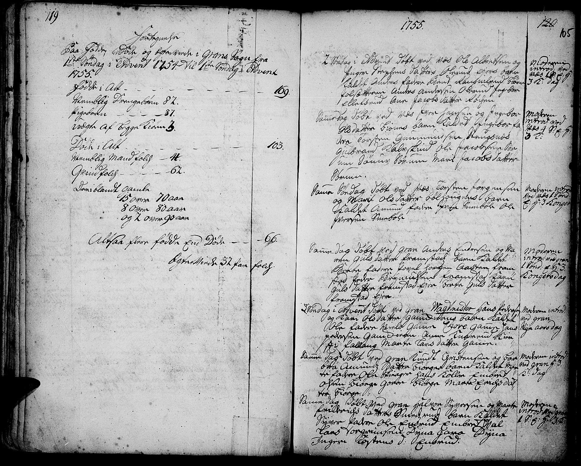 SAH, Gran prestekontor, Ministerialbok nr. 3, 1745-1758, s. 105