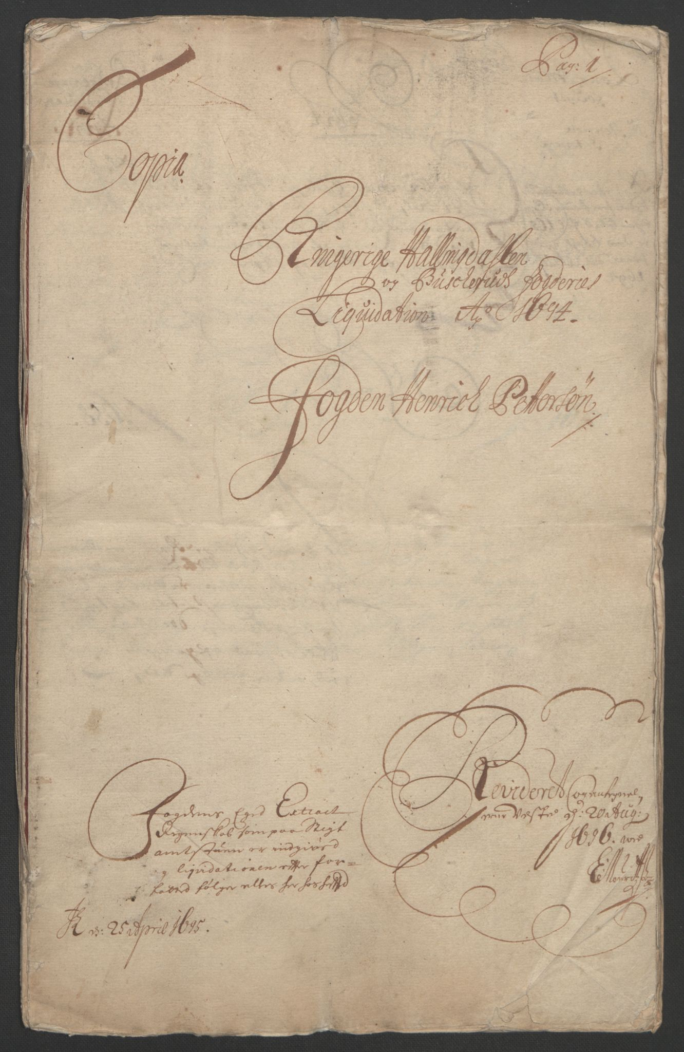 RA, Rentekammeret inntil 1814, Reviderte regnskaper, Fogderegnskap, R22/L1451: Fogderegnskap Ringerike, Hallingdal og Buskerud, 1694, s. 4