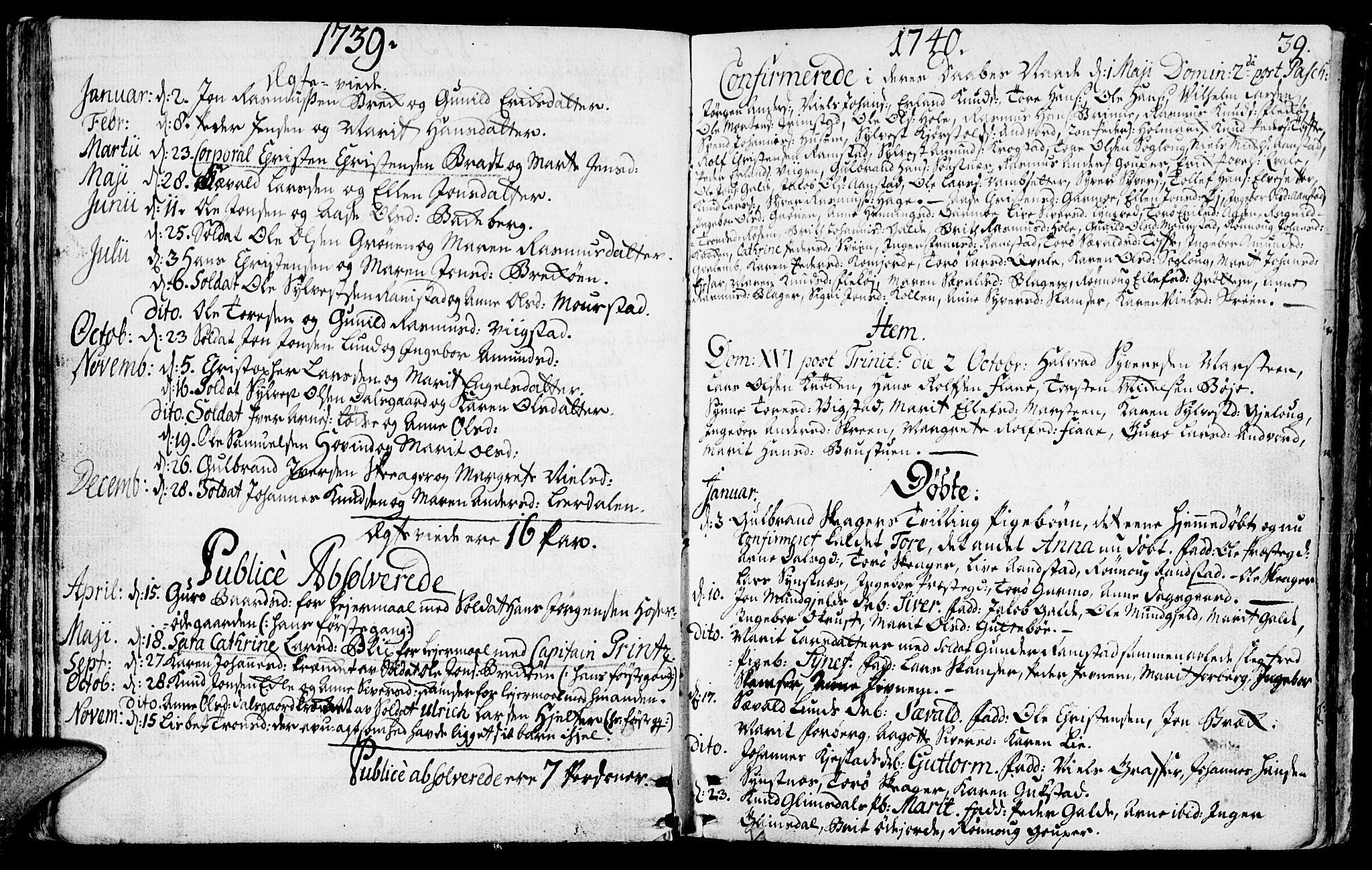 SAH, Lom prestekontor, K/L0001: Ministerialbok nr. 1, 1733-1748, s. 39