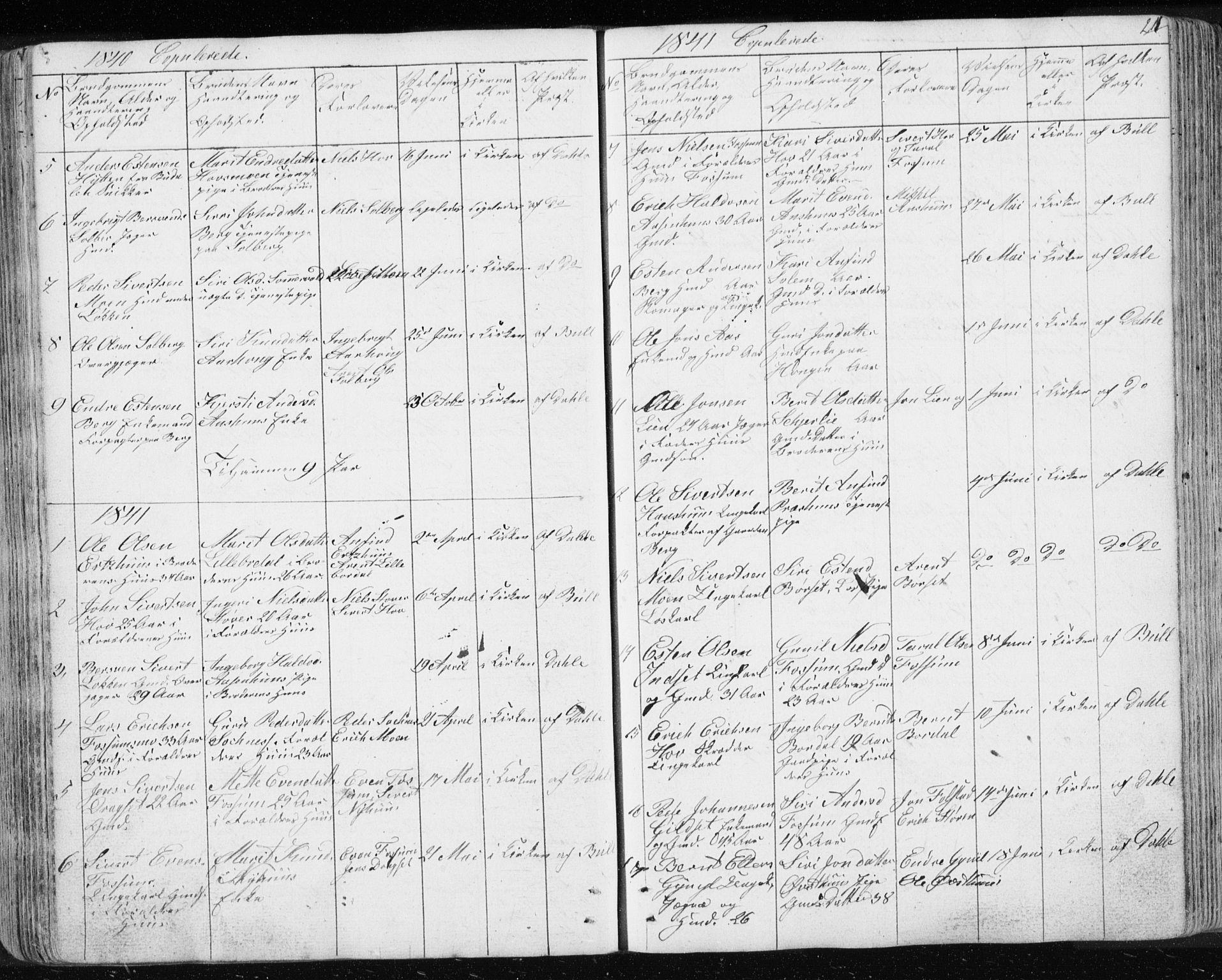 SAT, Ministerialprotokoller, klokkerbøker og fødselsregistre - Sør-Trøndelag, 689/L1043: Klokkerbok nr. 689C02, 1816-1892, s. 214