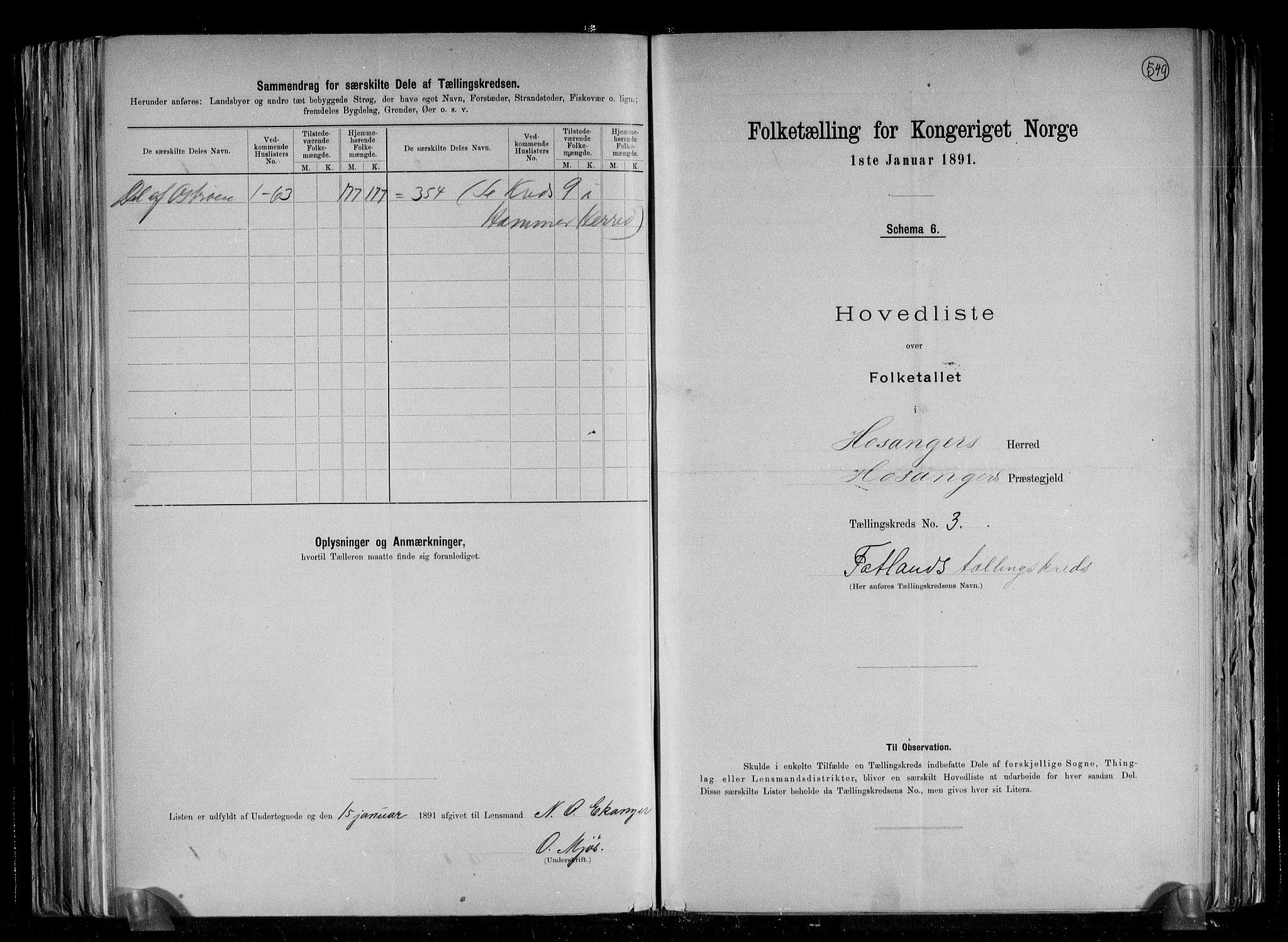 RA, Folketelling 1891 for 1253 Hosanger herred, 1891, s. 8