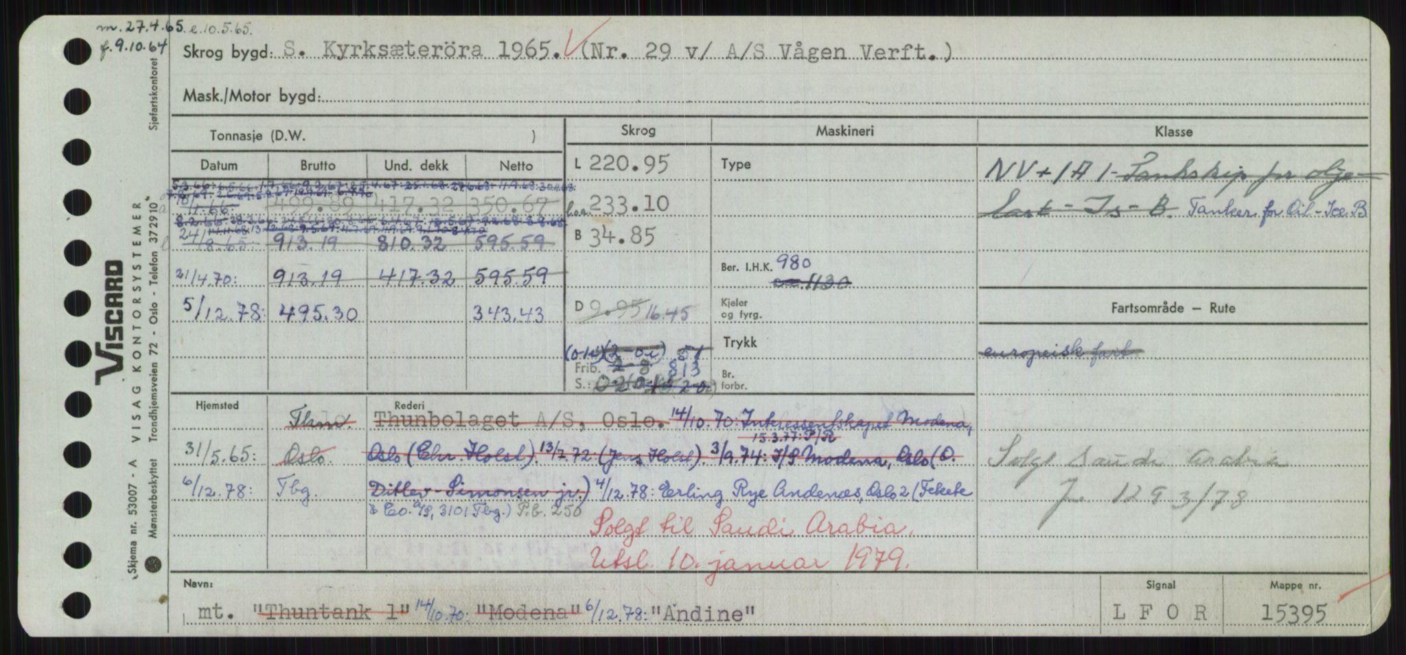 RA, Sjøfartsdirektoratet med forløpere, Skipsmålingen, H/Hd/L0001: Fartøy, A-Anv, s. 551