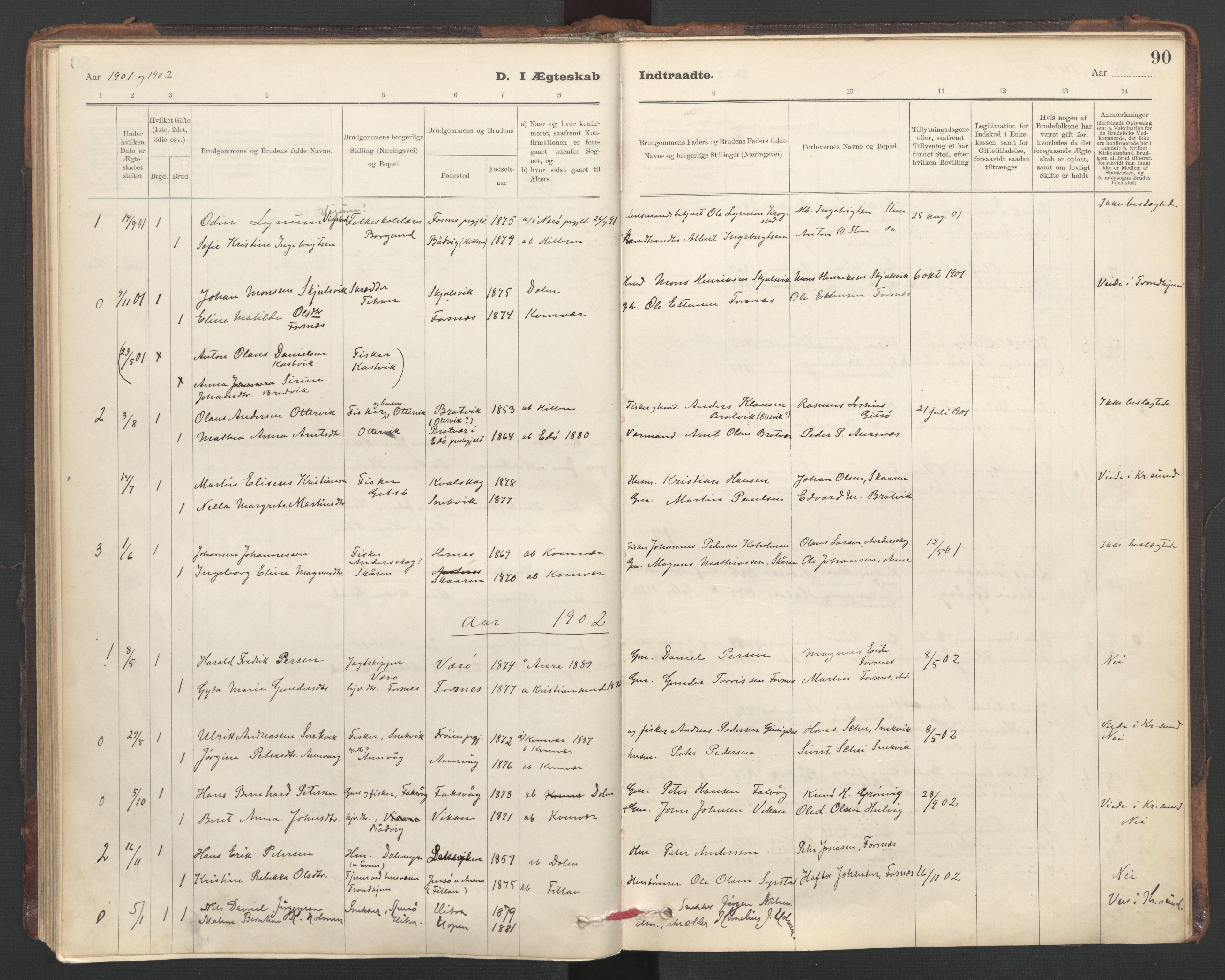 SAT, Ministerialprotokoller, klokkerbøker og fødselsregistre - Sør-Trøndelag, 635/L0552: Ministerialbok nr. 635A02, 1899-1919, s. 90