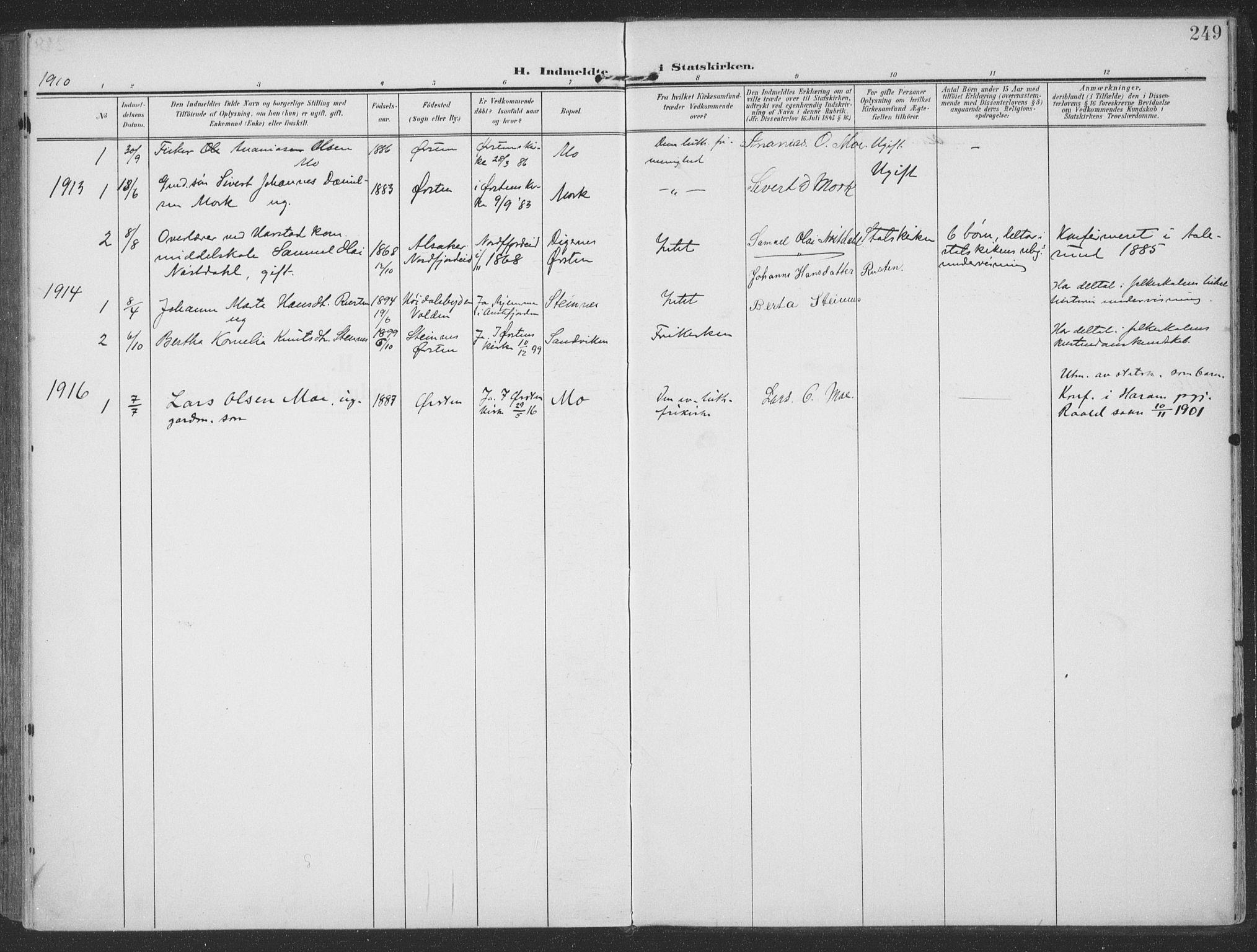 SAT, Ministerialprotokoller, klokkerbøker og fødselsregistre - Møre og Romsdal, 513/L0178: Ministerialbok nr. 513A05, 1906-1919, s. 249