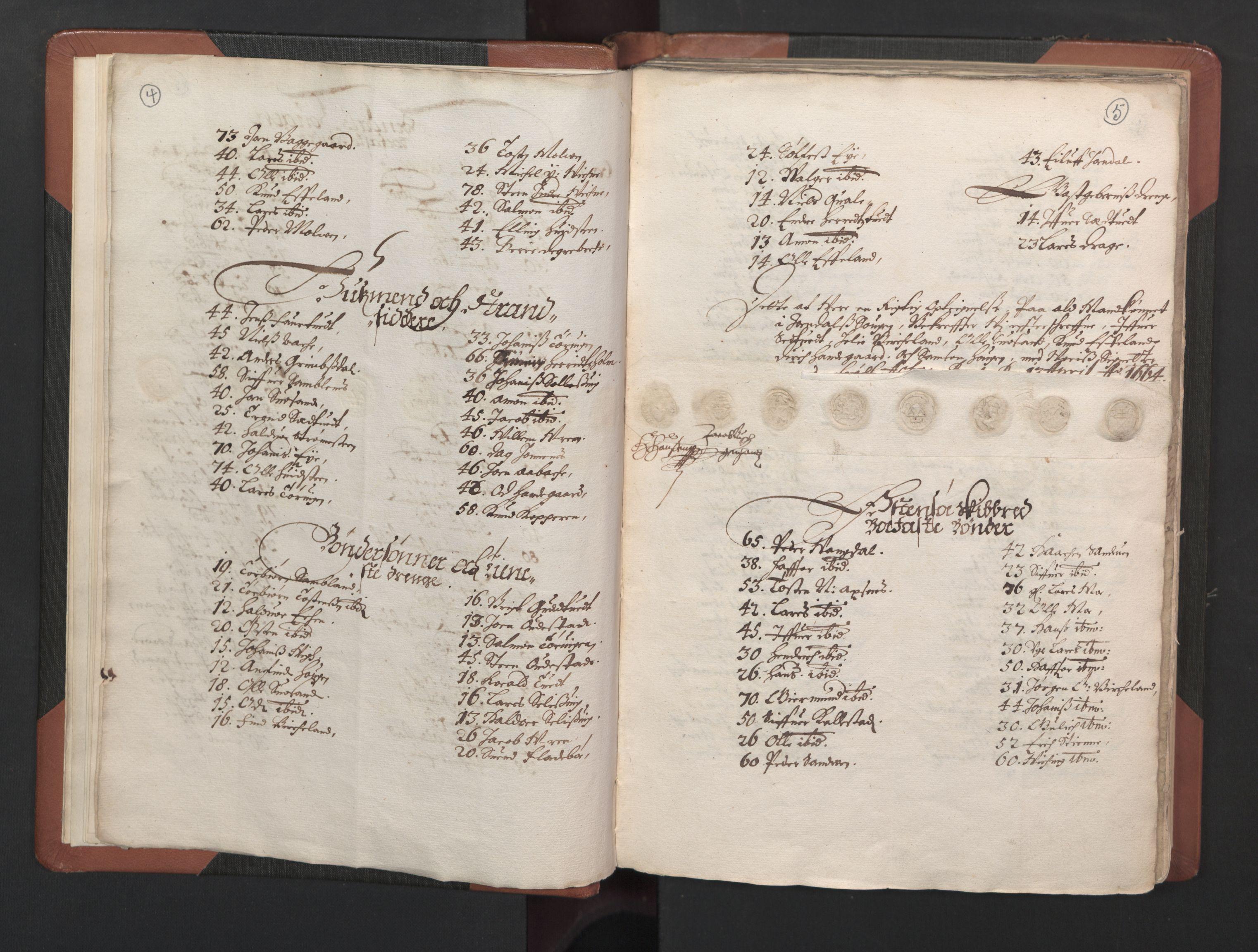RA, Fogdenes og sorenskrivernes manntall 1664-1666, nr. 14: Hardanger len, Ytre Sogn fogderi og Indre Sogn fogderi, 1664-1665, s. 4-5