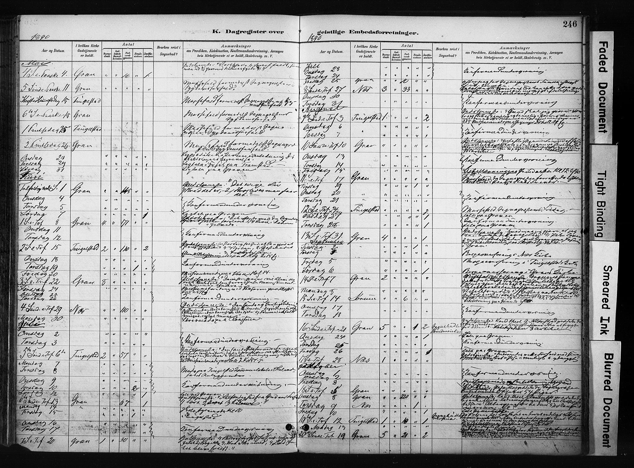 SAH, Gran prestekontor, Ministerialbok nr. 17, 1889-1897, s. 246