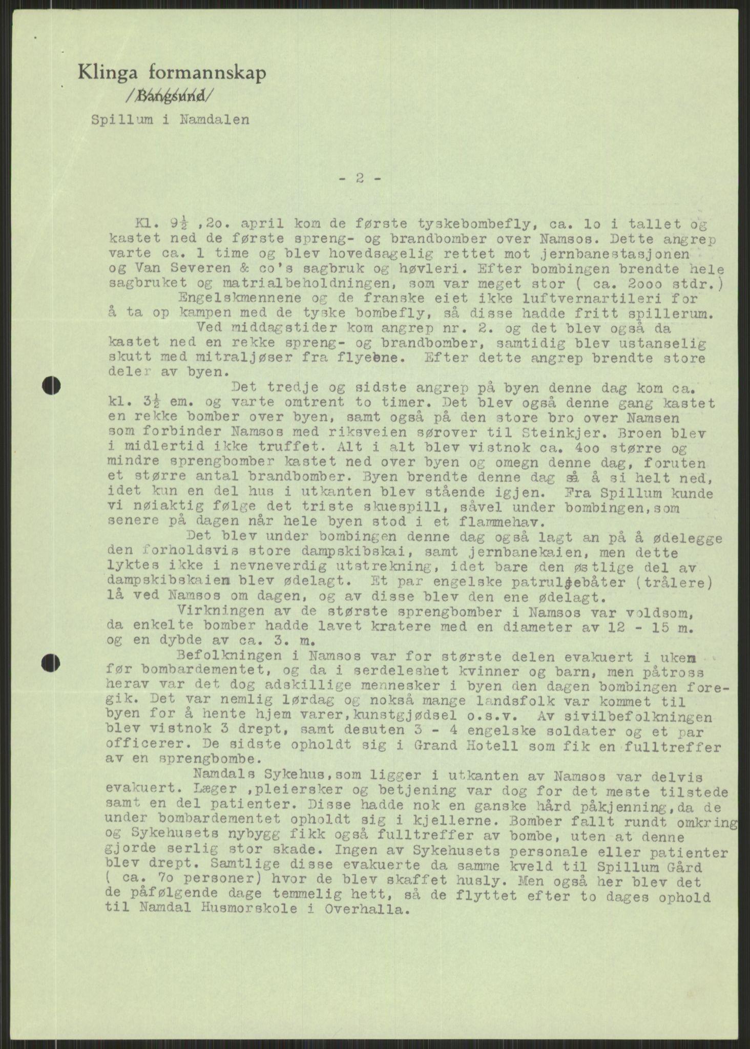 RA, Forsvaret, Forsvarets krigshistoriske avdeling, Y/Ya/L0016: II-C-11-31 - Fylkesmenn.  Rapporter om krigsbegivenhetene 1940., 1940, s. 483