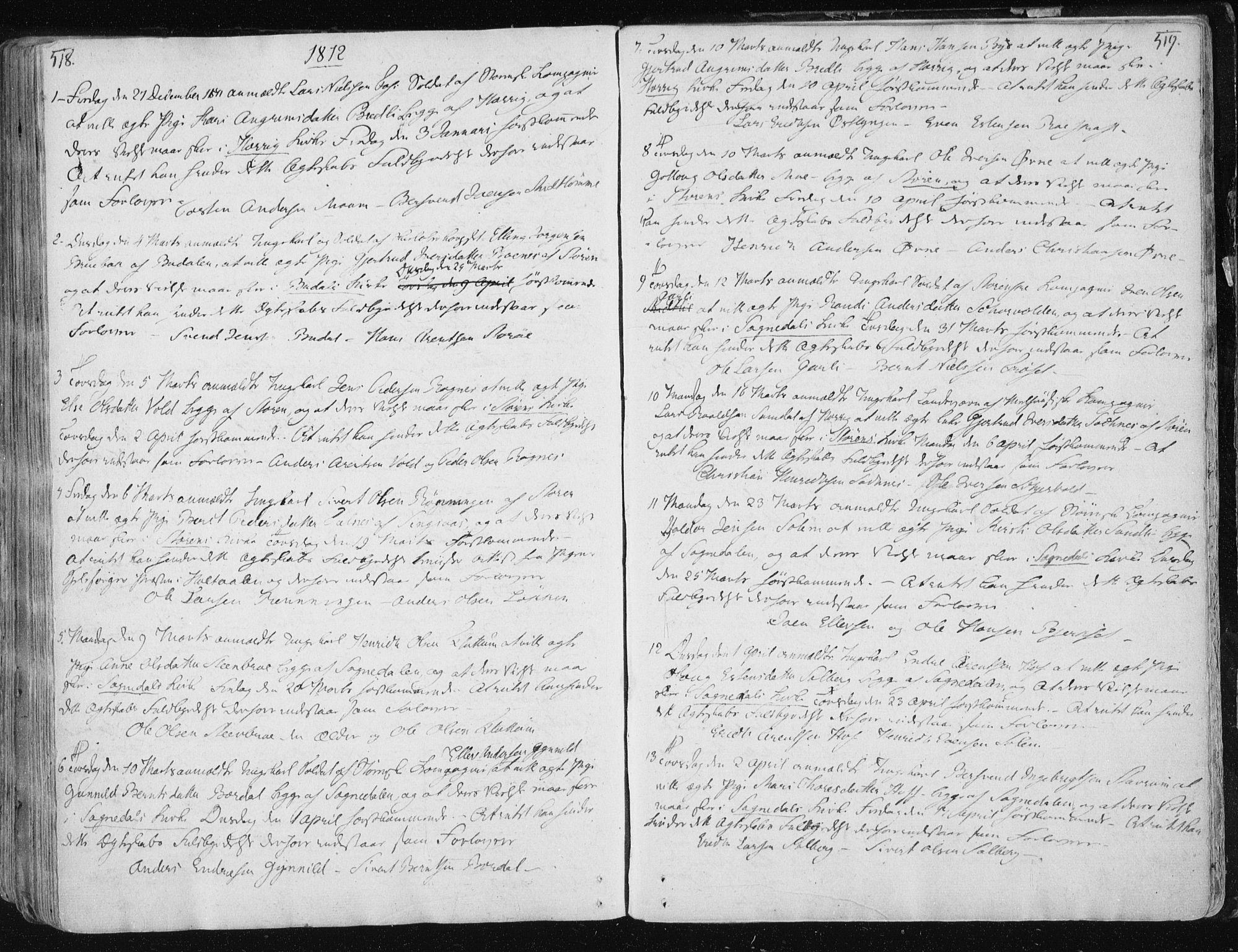 SAT, Ministerialprotokoller, klokkerbøker og fødselsregistre - Sør-Trøndelag, 687/L0992: Ministerialbok nr. 687A03 /1, 1788-1815, s. 518-519