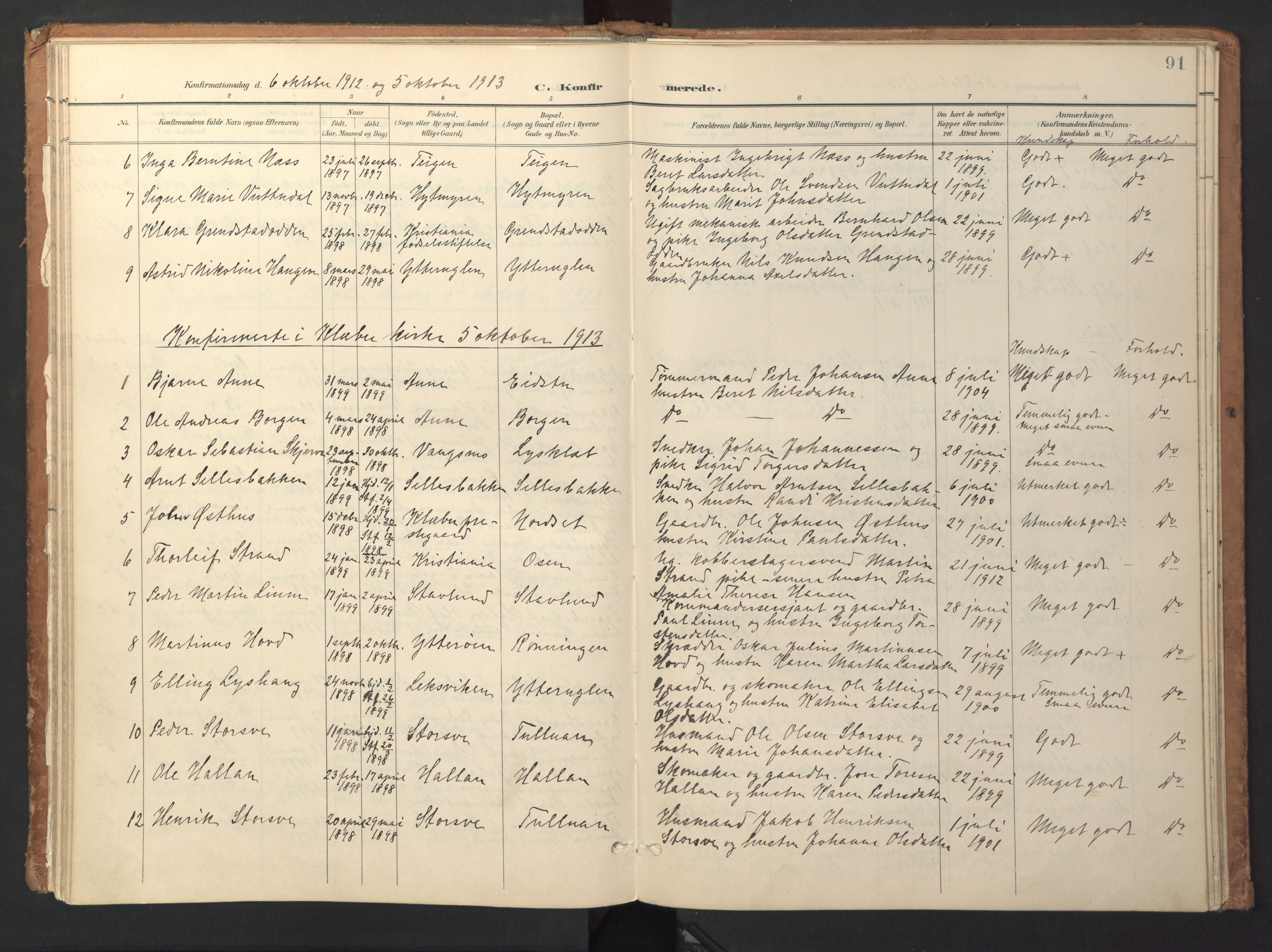 SAT, Ministerialprotokoller, klokkerbøker og fødselsregistre - Sør-Trøndelag, 618/L0448: Ministerialbok nr. 618A11, 1898-1916, s. 91