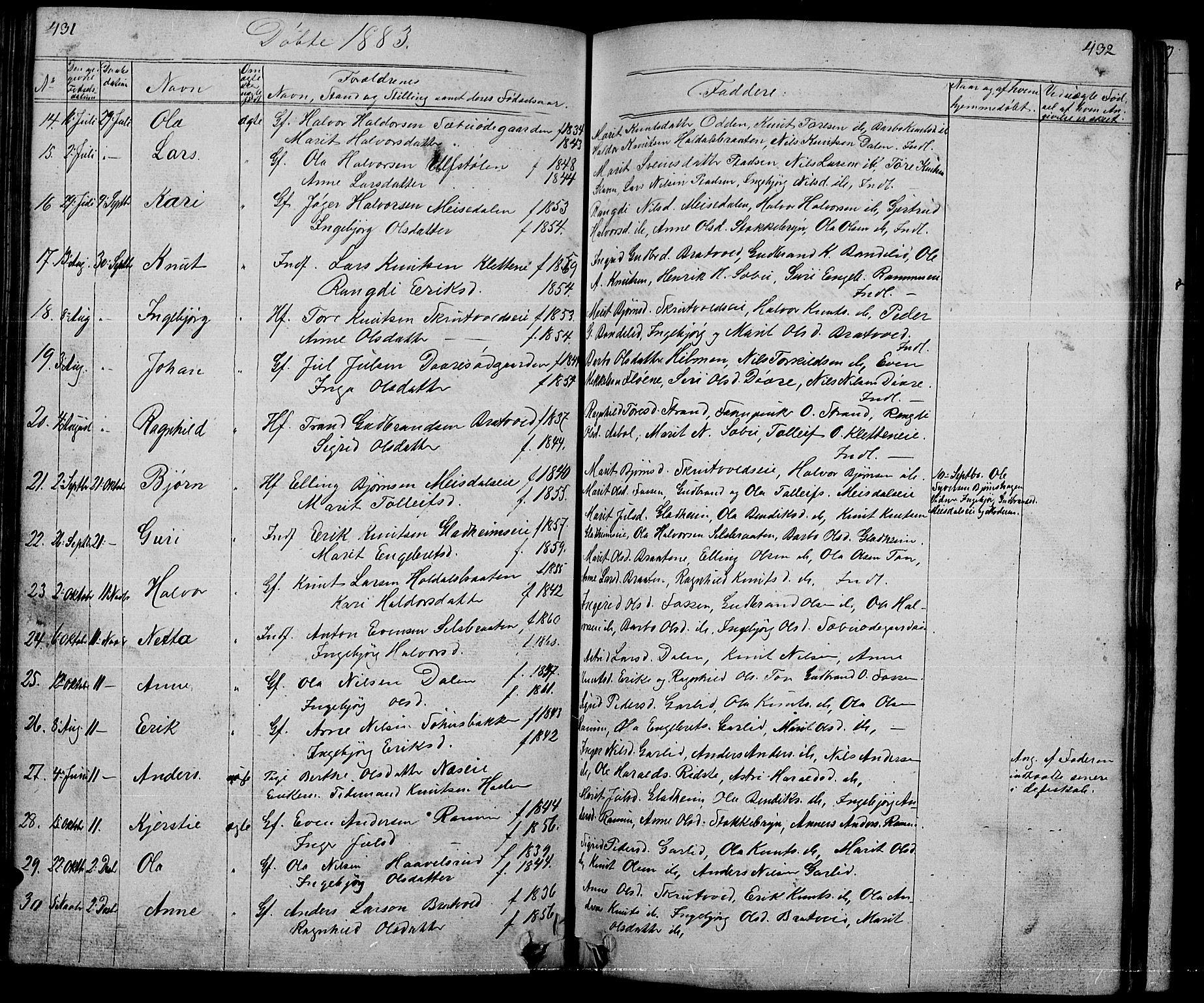 SAH, Nord-Aurdal prestekontor, Klokkerbok nr. 1, 1834-1887, s. 431-432