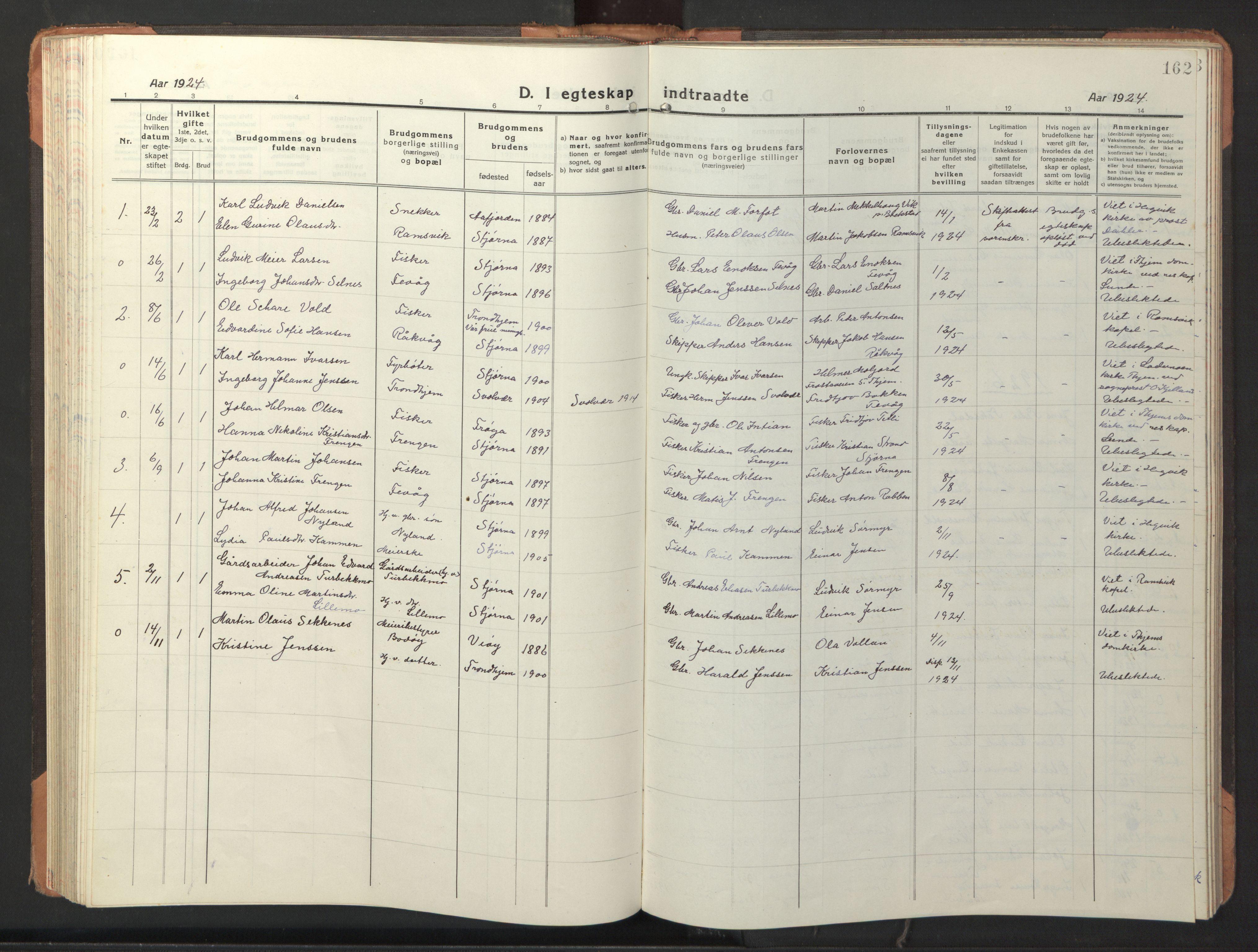 SAT, Ministerialprotokoller, klokkerbøker og fødselsregistre - Sør-Trøndelag, 653/L0658: Klokkerbok nr. 653C02, 1919-1947, s. 162