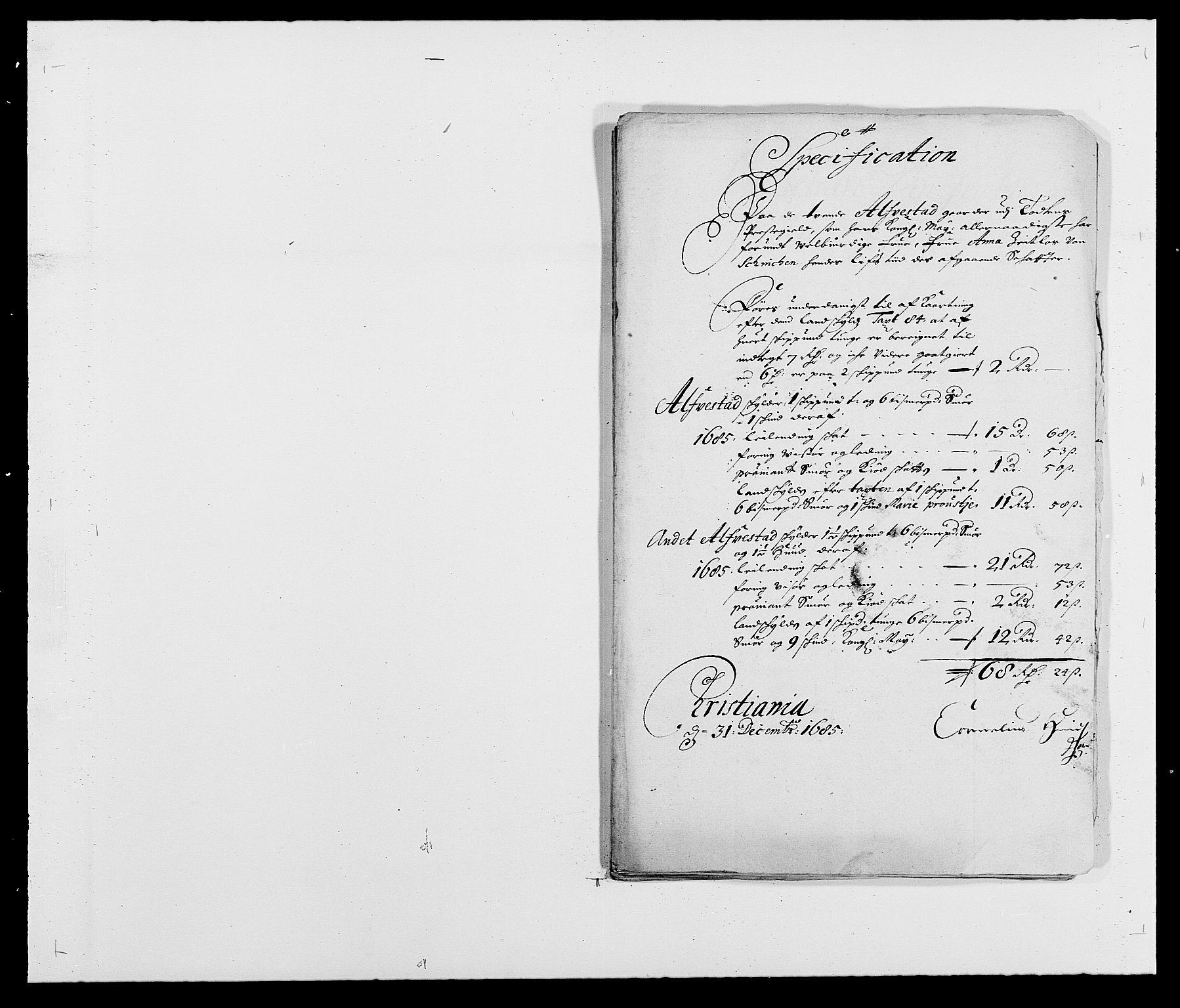RA, Rentekammeret inntil 1814, Reviderte regnskaper, Fogderegnskap, R18/L1284: Fogderegnskap Hadeland, Toten og Valdres, 1685, s. 246
