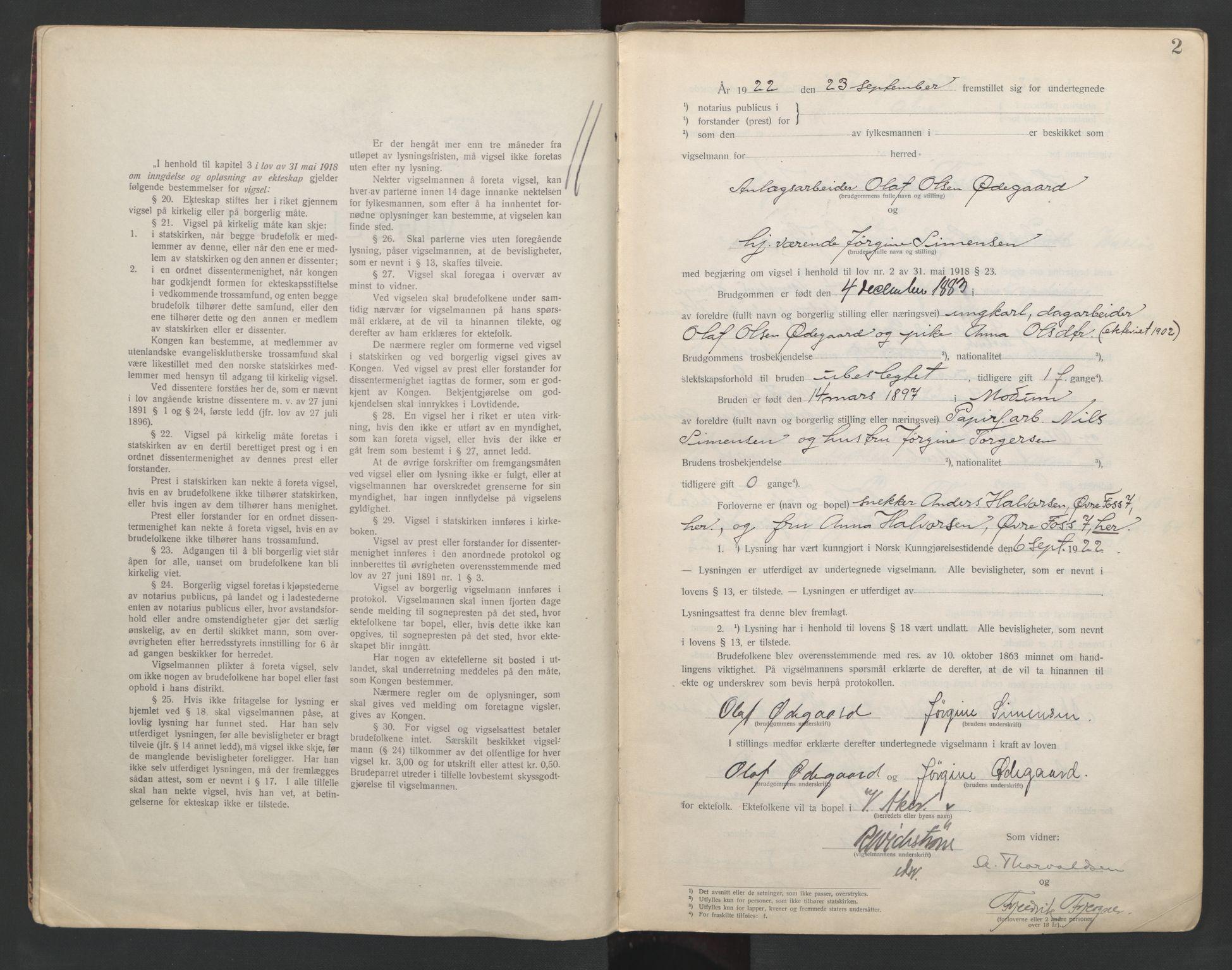SAO, Aker sorenskriveri, L/Lc/Lcb/L0002: Vigselprotokoll, 1922-1924, s. 2