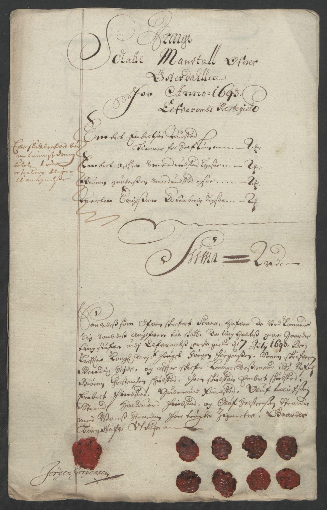 RA, Rentekammeret inntil 1814, Reviderte regnskaper, Fogderegnskap, R13/L0831: Fogderegnskap Solør, Odal og Østerdal, 1693, s. 245