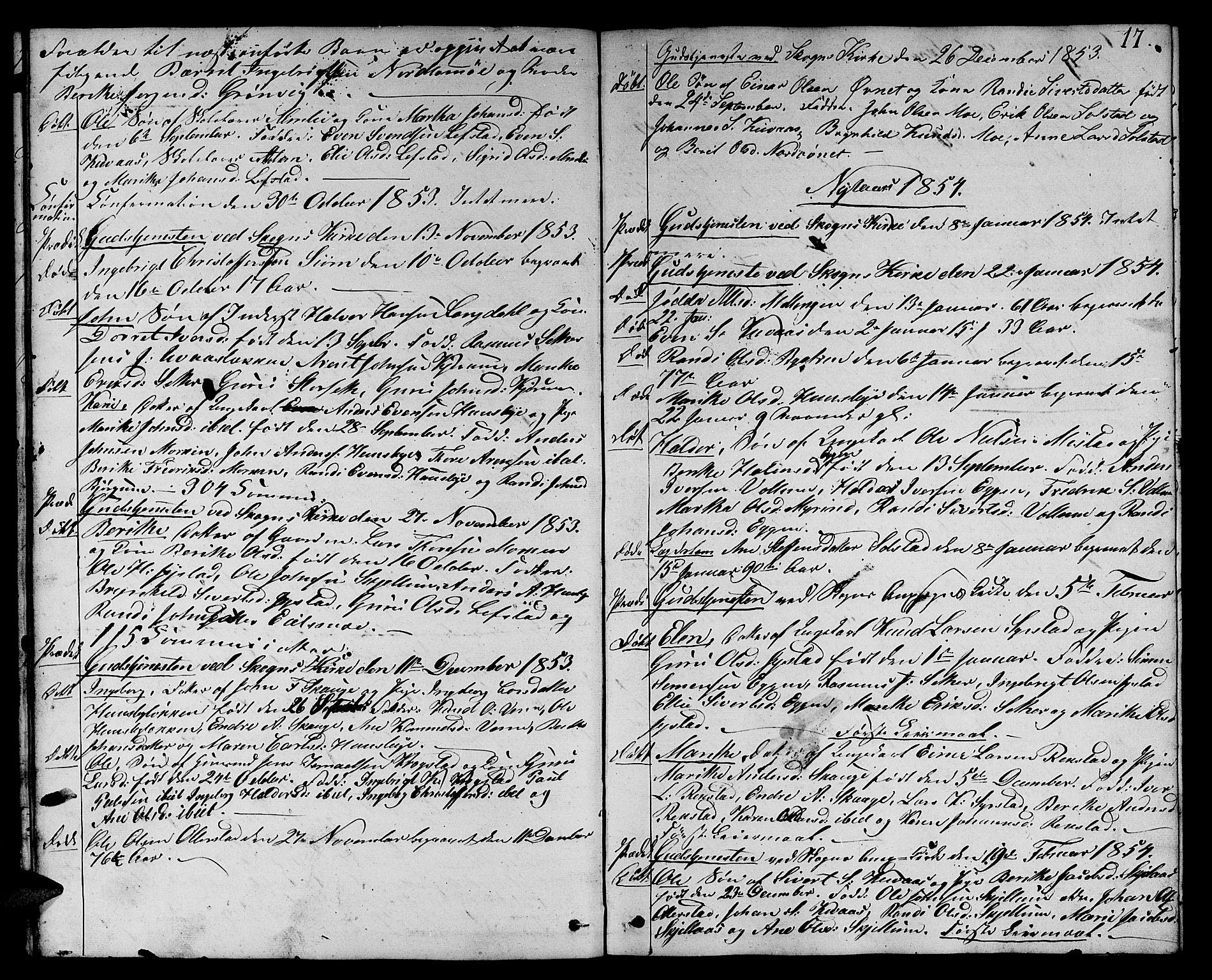 SAT, Ministerialprotokoller, klokkerbøker og fødselsregistre - Sør-Trøndelag, 667/L0797: Klokkerbok nr. 667C02, 1849-1867, s. 17
