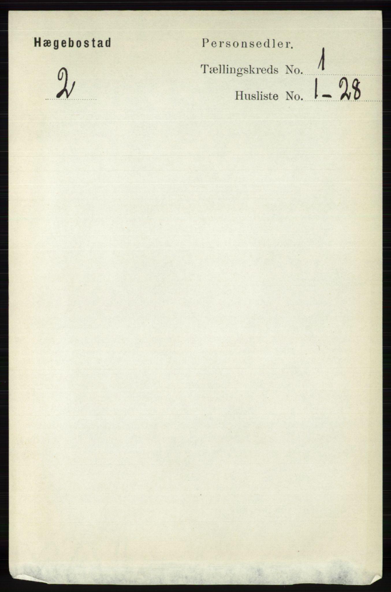 RA, Folketelling 1891 for 1034 Hægebostad herred, 1891, s. 88