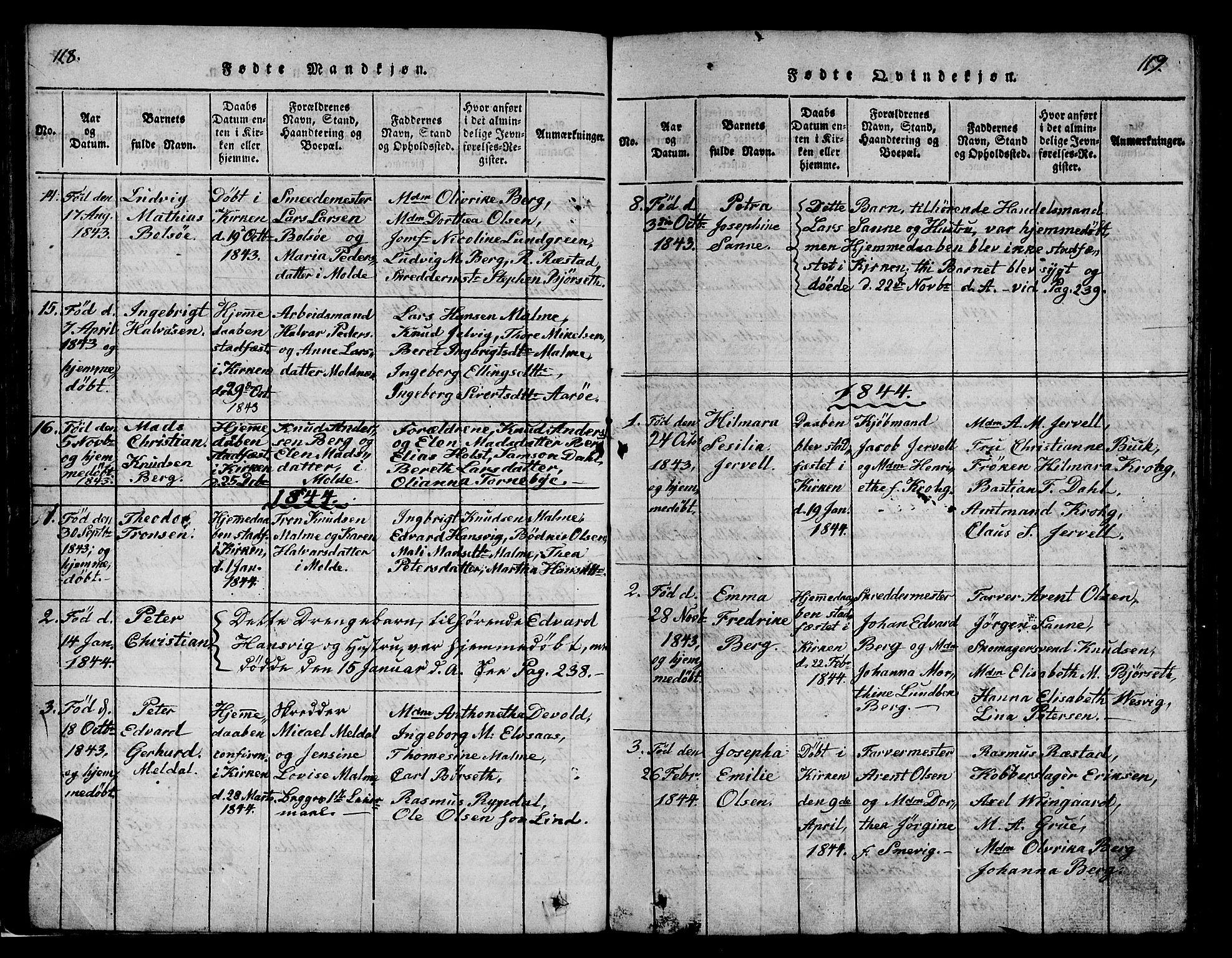 SAT, Ministerialprotokoller, klokkerbøker og fødselsregistre - Møre og Romsdal, 558/L0700: Klokkerbok nr. 558C01, 1818-1868, s. 118-119