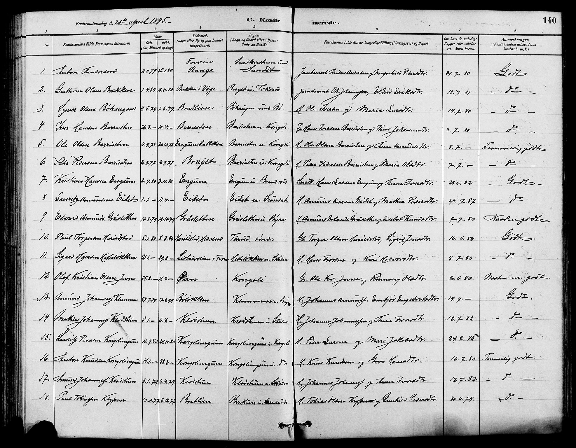 SAH, Nord-Fron prestekontor, Klokkerbok nr. 4, 1884-1914, s. 140