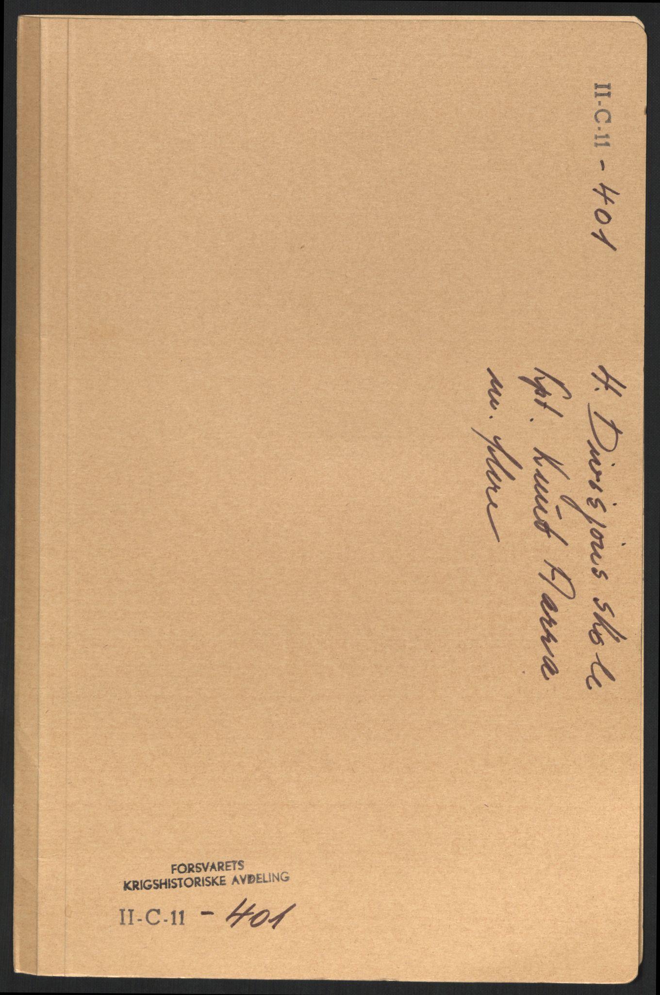 RA, Forsvaret, Forsvarets krigshistoriske avdeling, Y/Yb/L0100: II-C-11-401-402  -  4. Divisjon., 1940-1962, s. 135