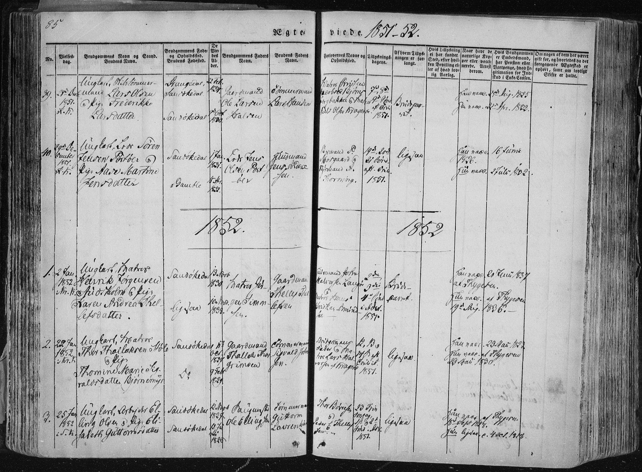 SAKO, Sannidal kirkebøker, F/Fa/L0007: Ministerialbok nr. 7, 1831-1854, s. 85