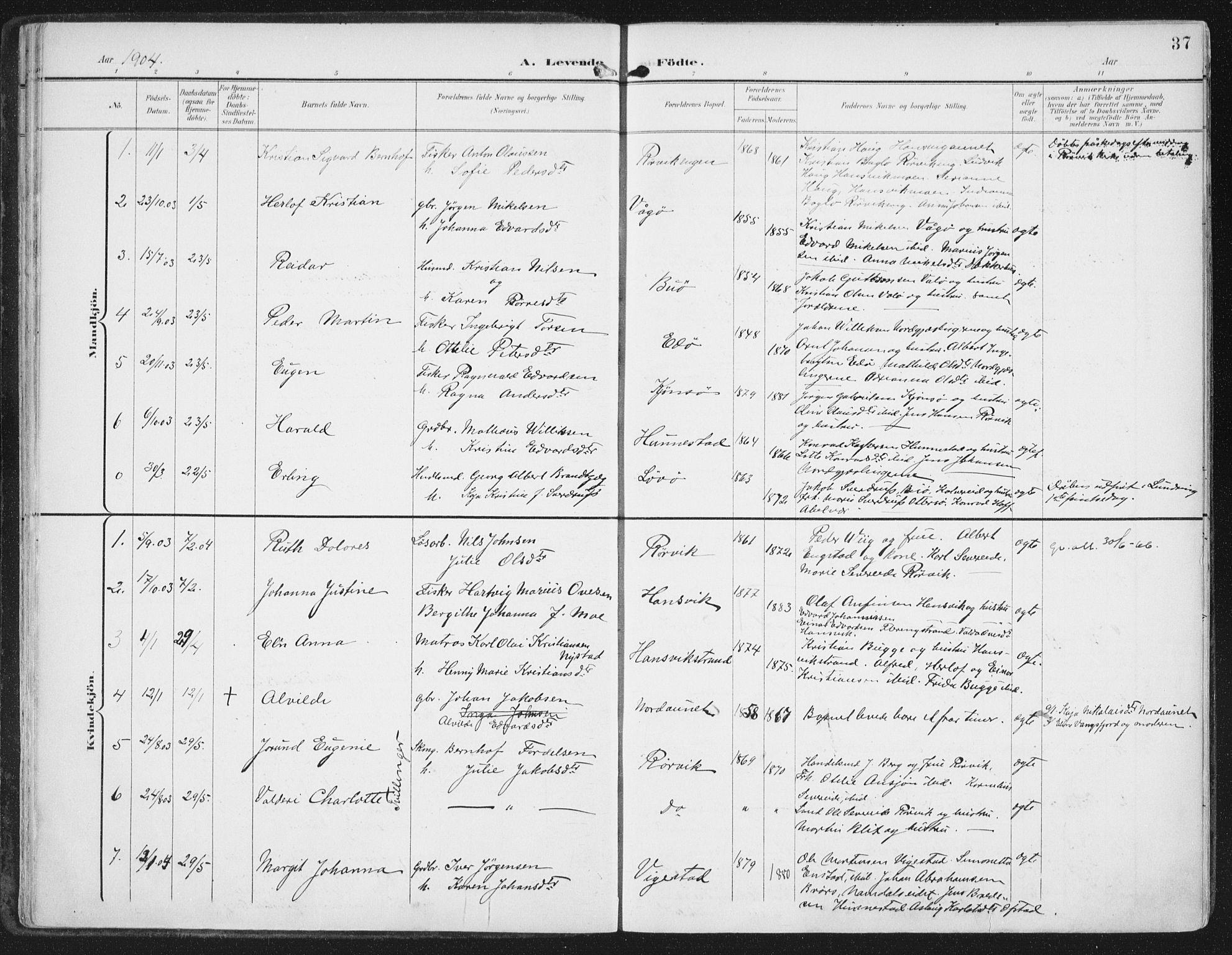 SAT, Ministerialprotokoller, klokkerbøker og fødselsregistre - Nord-Trøndelag, 786/L0688: Ministerialbok nr. 786A04, 1899-1912, s. 37