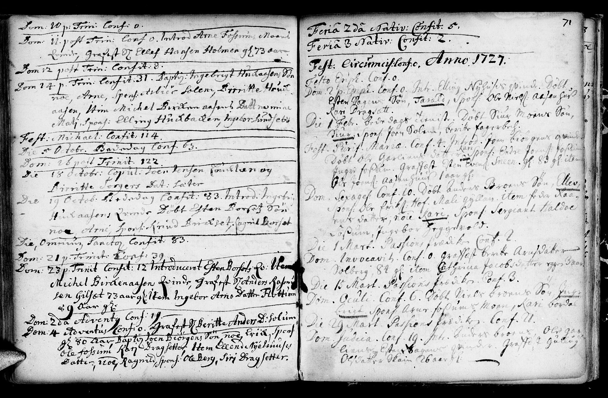 SAT, Ministerialprotokoller, klokkerbøker og fødselsregistre - Sør-Trøndelag, 689/L1036: Ministerialbok nr. 689A01, 1696-1746, s. 71