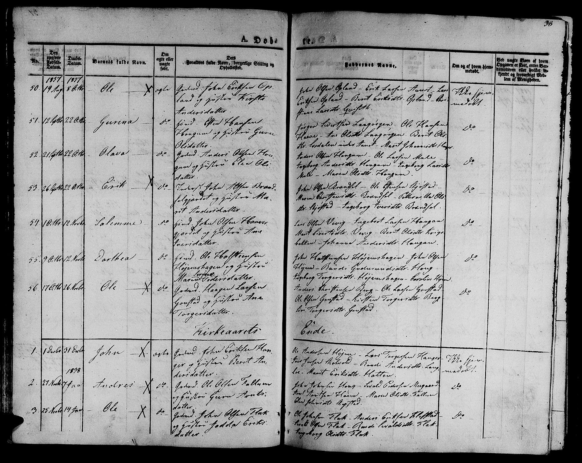 SAT, Ministerialprotokoller, klokkerbøker og fødselsregistre - Sør-Trøndelag, 612/L0374: Ministerialbok nr. 612A07 /1, 1829-1845, s. 38