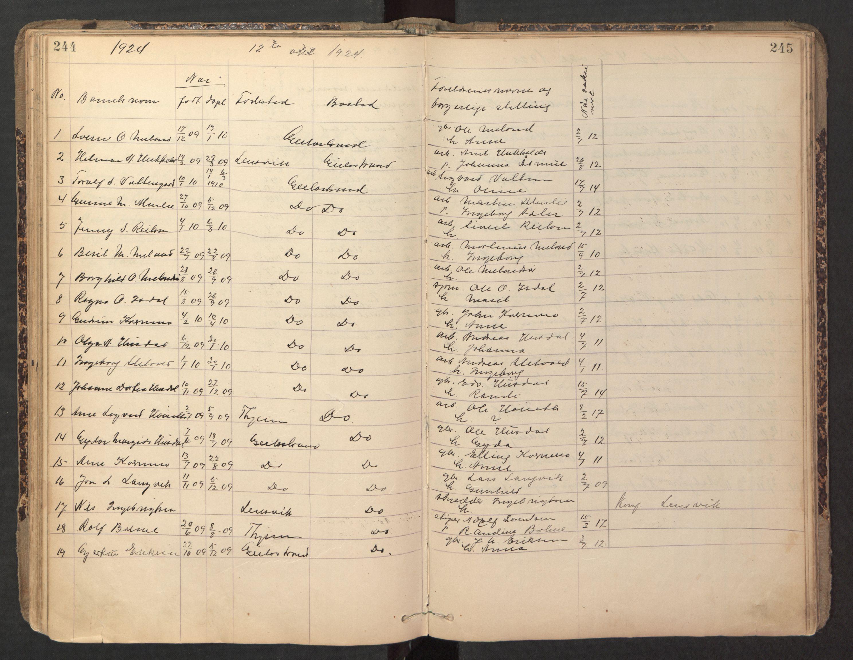 SAT, Ministerialprotokoller, klokkerbøker og fødselsregistre - Sør-Trøndelag, 670/L0837: Klokkerbok nr. 670C01, 1905-1946, s. 244-245