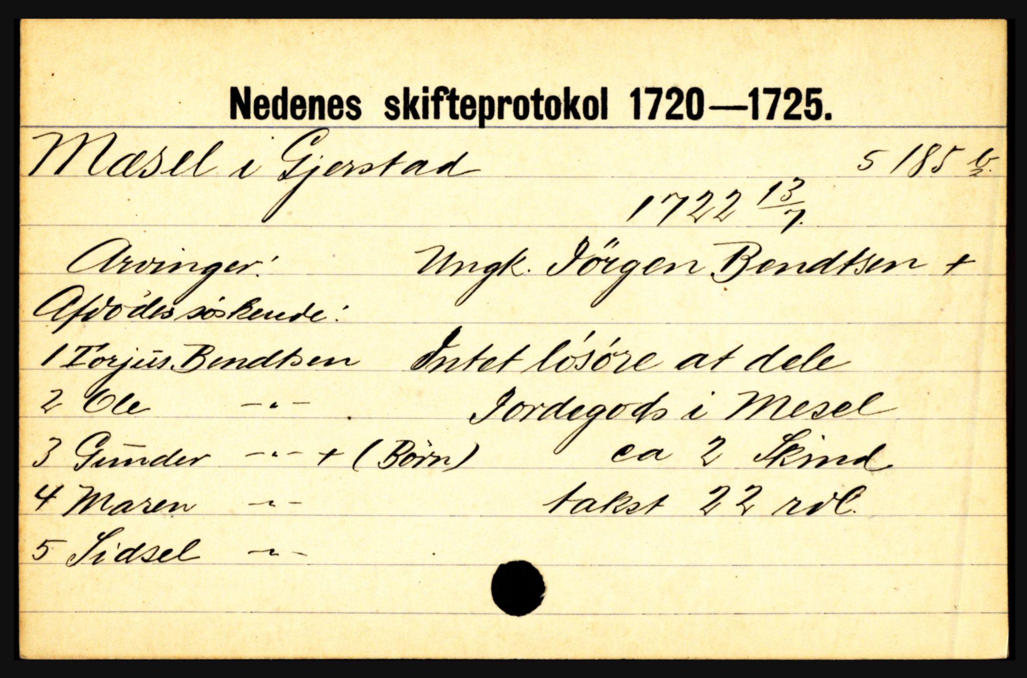 SAK, Nedenes sorenskriveri før 1824, H, s. 20631