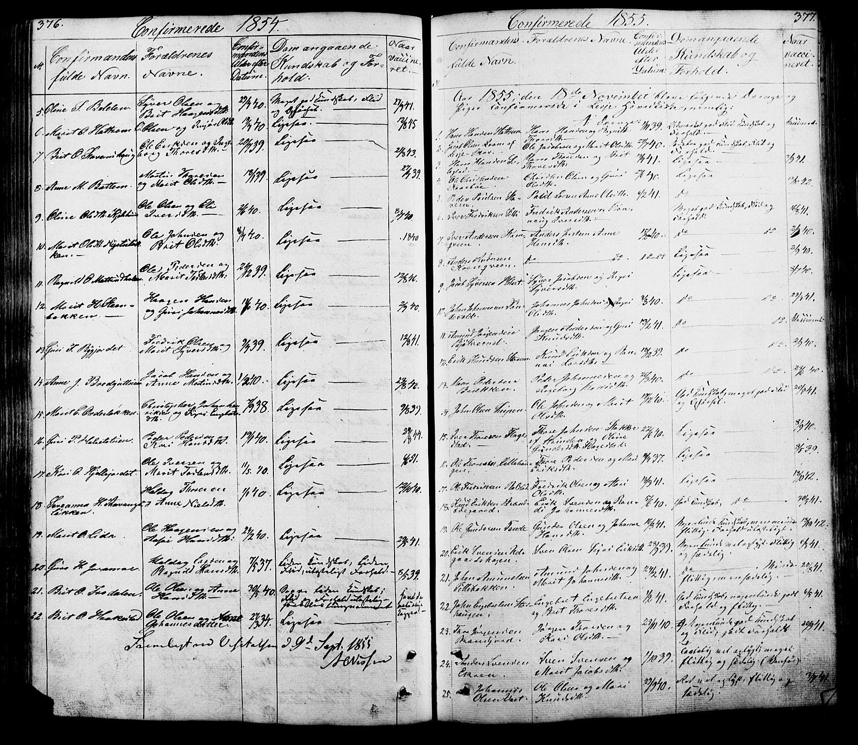 SAH, Lesja prestekontor, Klokkerbok nr. 5, 1850-1894, s. 376-377
