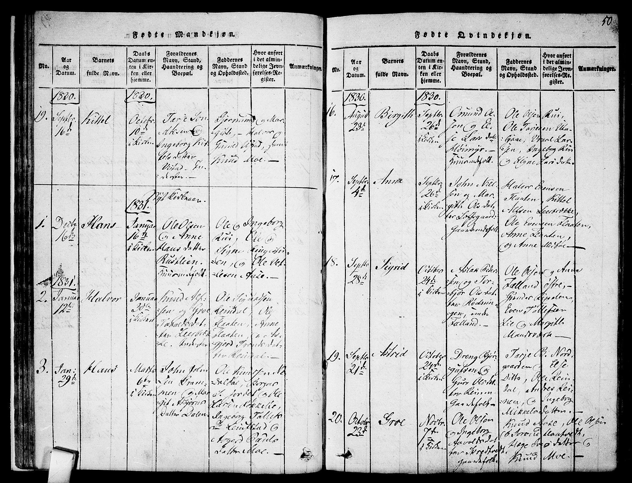 SAKO, Mo kirkebøker, F/Fa/L0004: Ministerialbok nr. I 4, 1814-1844, s. 50