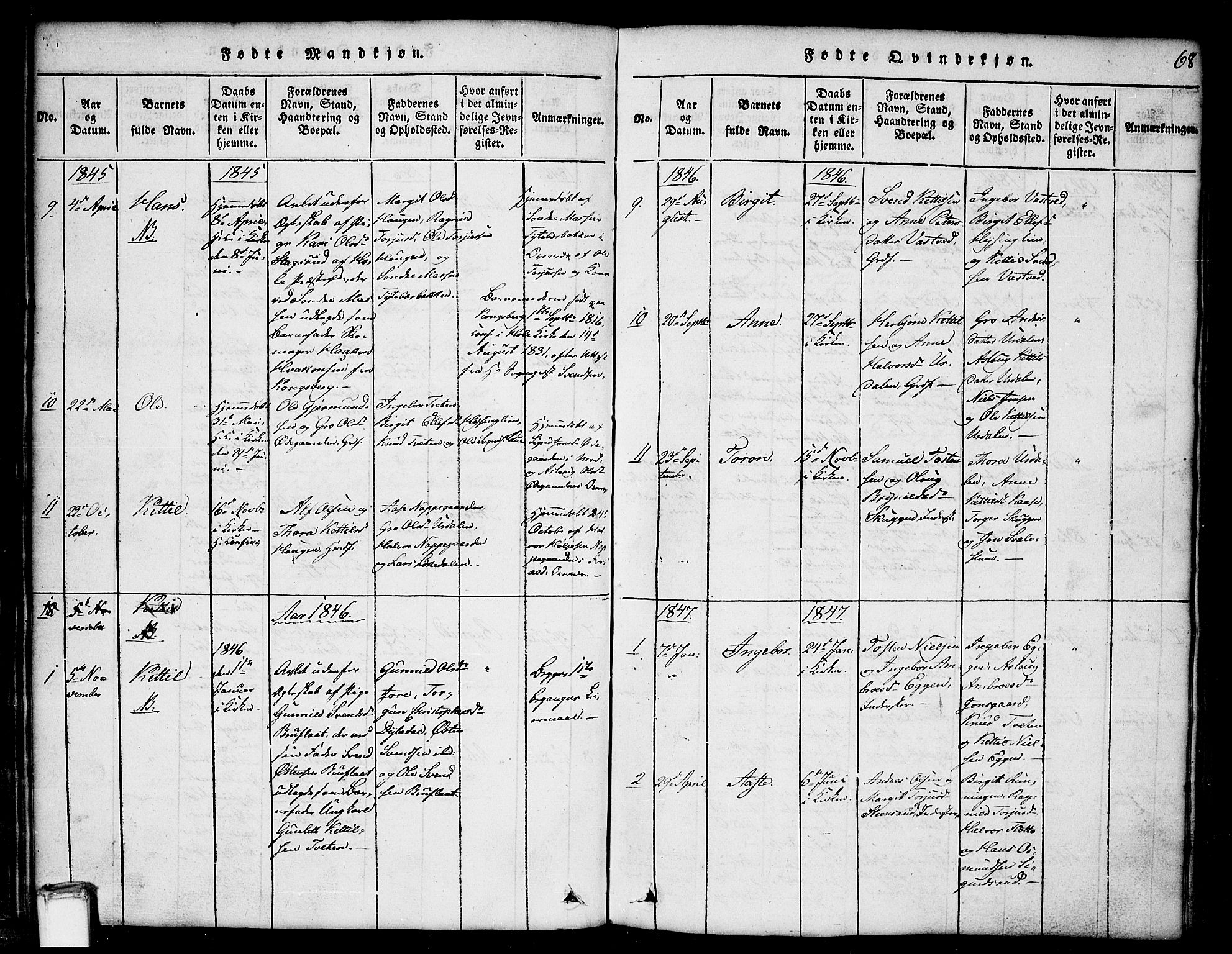 SAKO, Gransherad kirkebøker, G/Gb/L0001: Klokkerbok nr. II 1, 1815-1860, s. 68