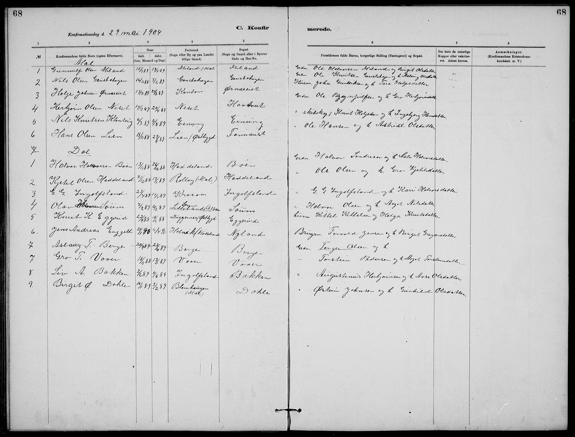 SAKO, Rjukan kirkebøker, G/Ga/L0001: Klokkerbok nr. 1, 1880-1914, s. 68