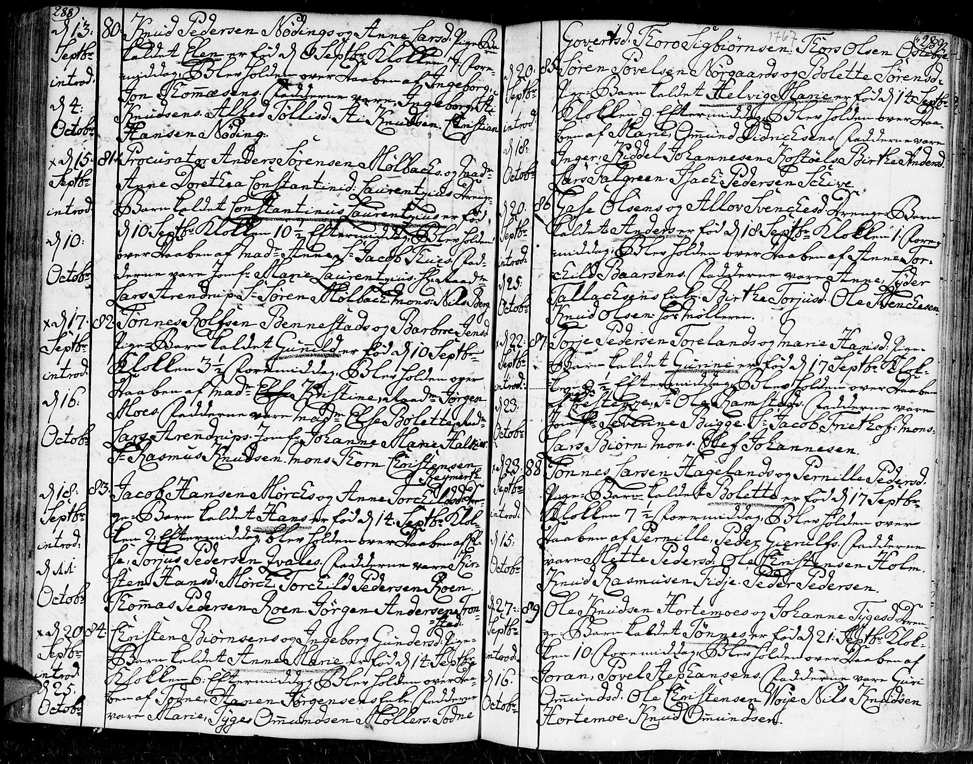 SAK, Kristiansand domprosti, F/Fa/L0002: Ministerialbok nr. A 2, 1755-1778, s. 288-289