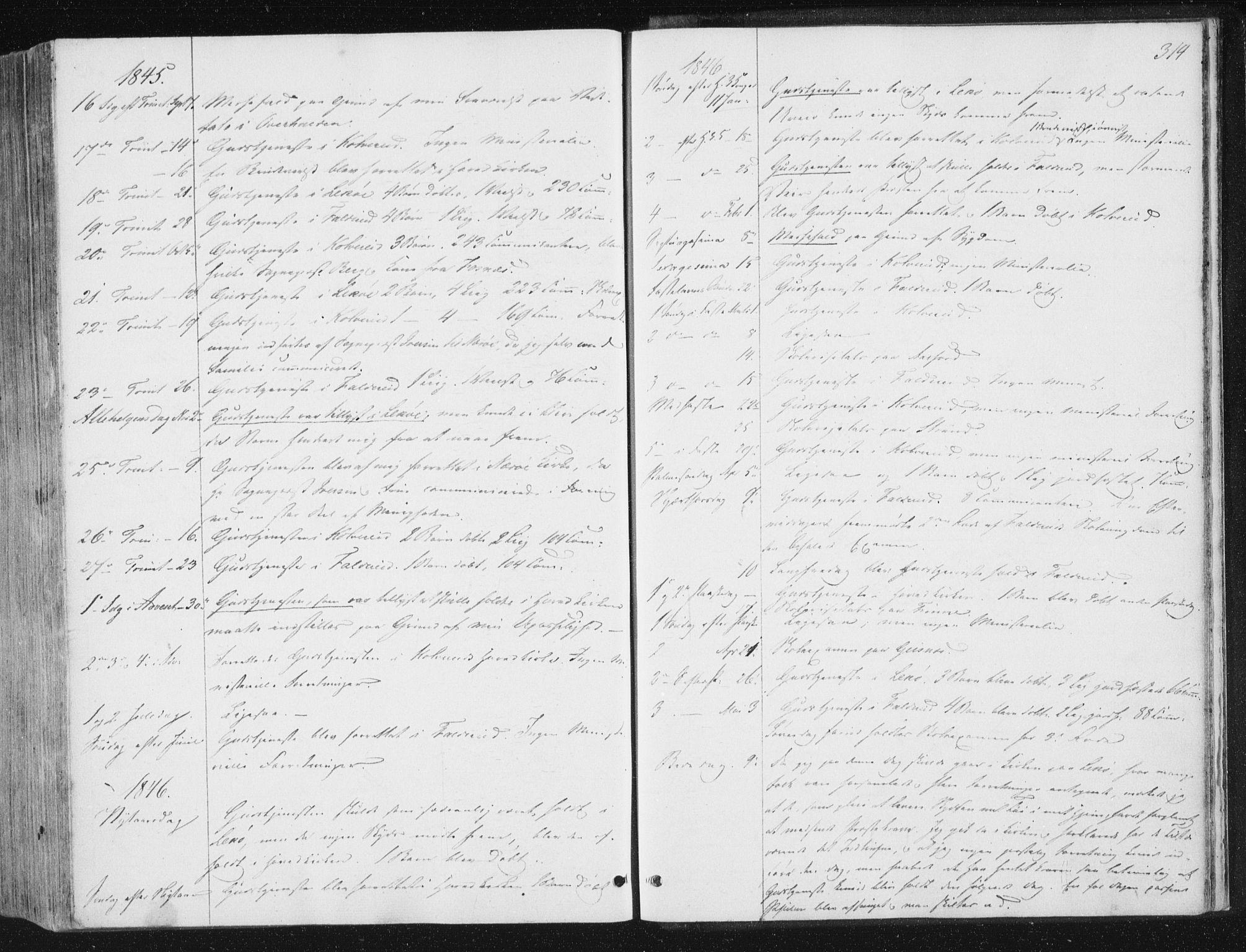 SAT, Ministerialprotokoller, klokkerbøker og fødselsregistre - Nord-Trøndelag, 780/L0640: Ministerialbok nr. 780A05, 1845-1856, s. 314