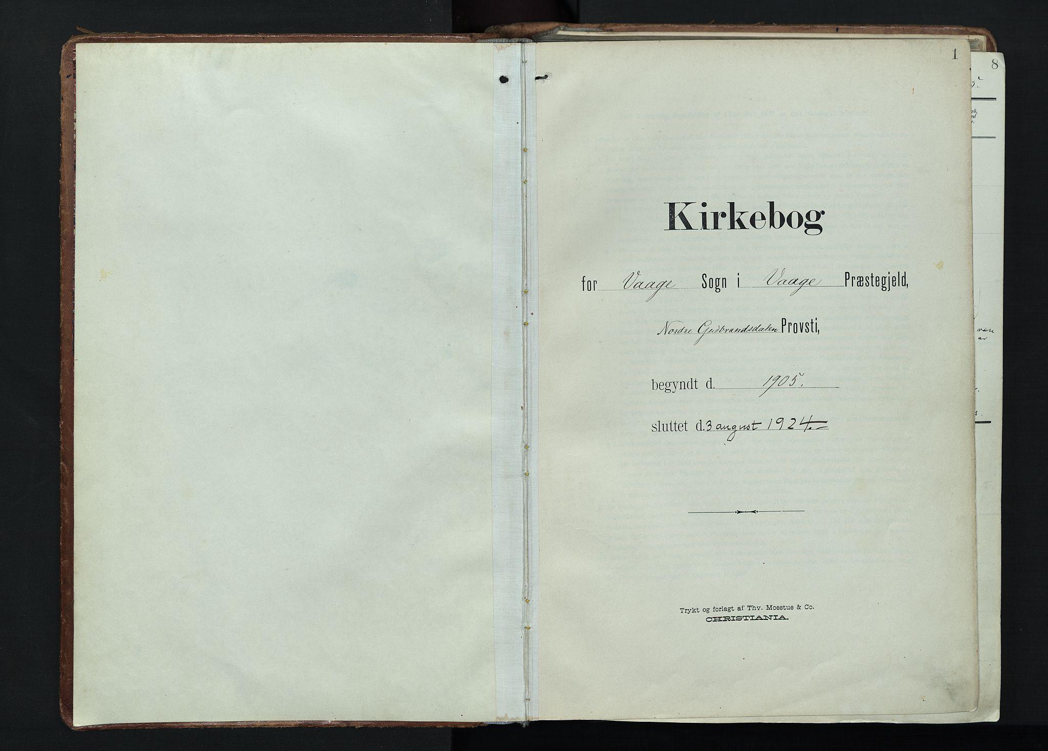 SAH, Vågå prestekontor, Ministerialbok nr. 11, 1905-1924, s. 1