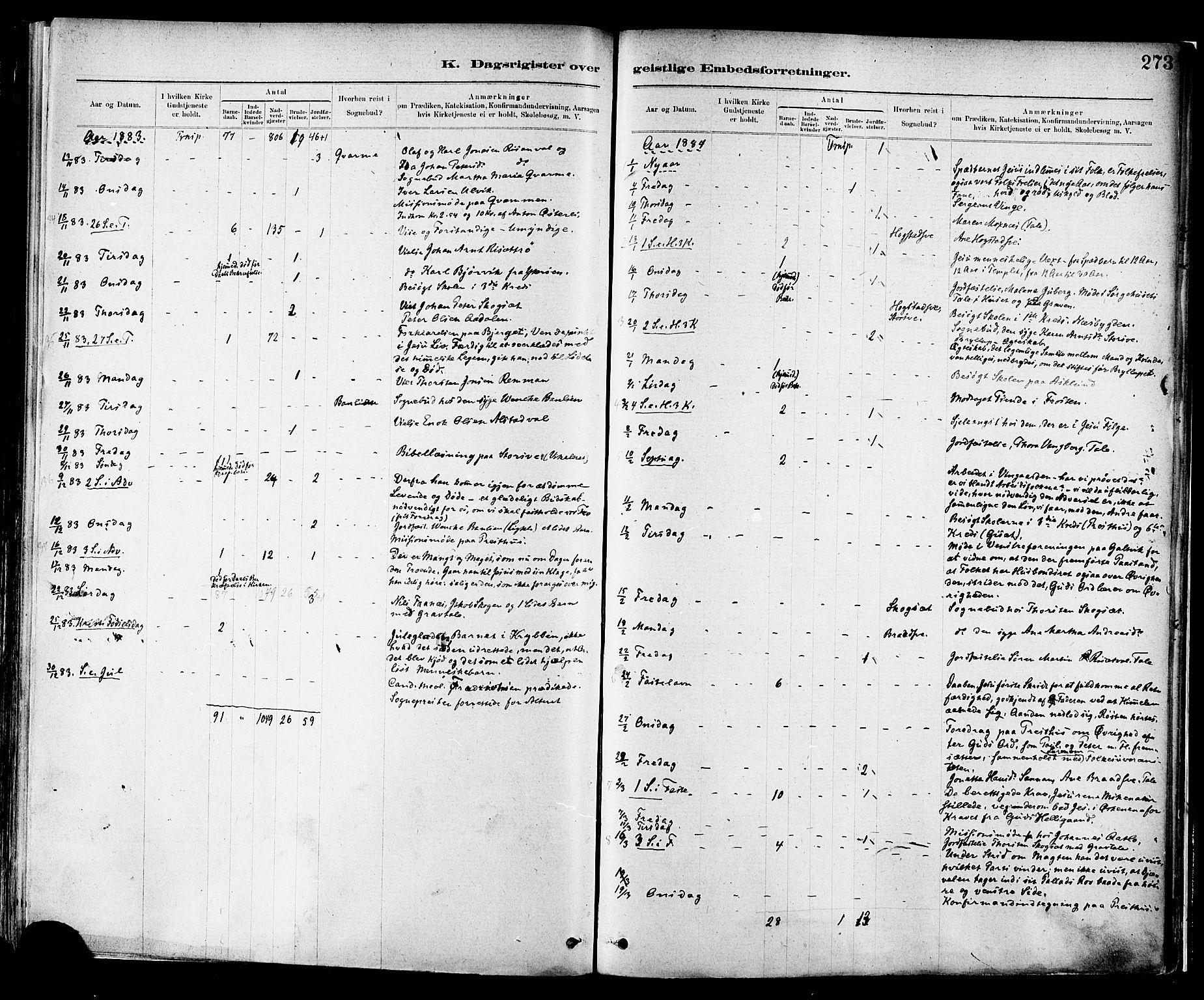 SAT, Ministerialprotokoller, klokkerbøker og fødselsregistre - Nord-Trøndelag, 713/L0120: Ministerialbok nr. 713A09, 1878-1887, s. 273