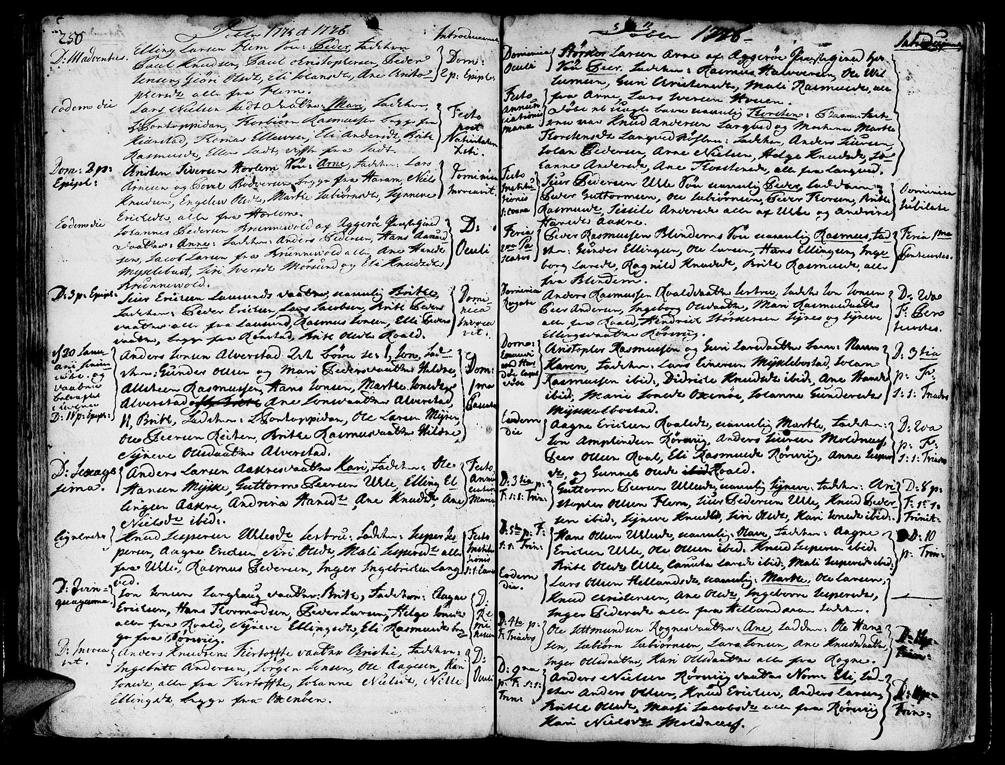 SAT, Ministerialprotokoller, klokkerbøker og fødselsregistre - Møre og Romsdal, 536/L0493: Ministerialbok nr. 536A02, 1739-1802, s. 250-251