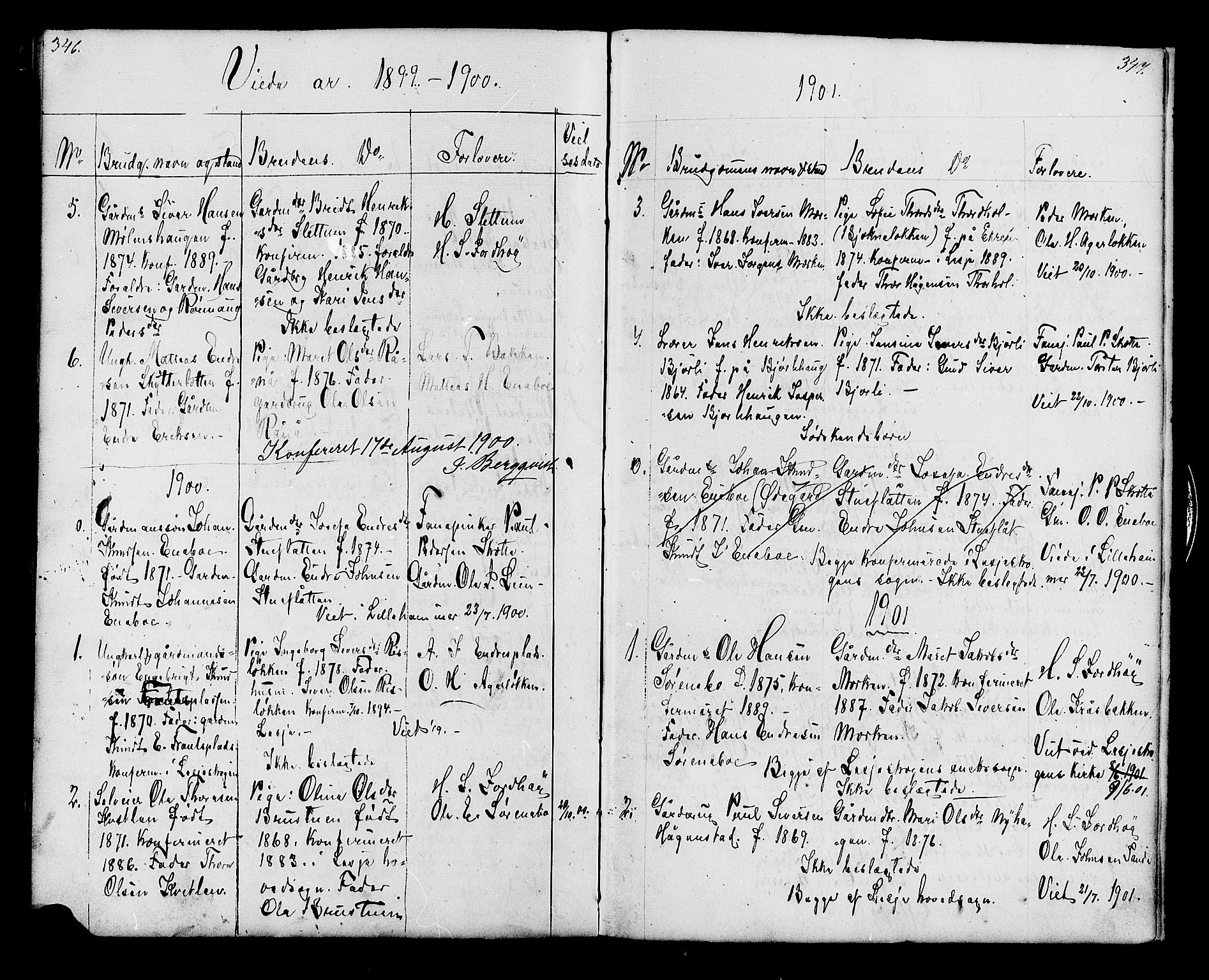 SAH, Lesja prestekontor, Klokkerbok nr. 6, 1871-1904, s. 346-347