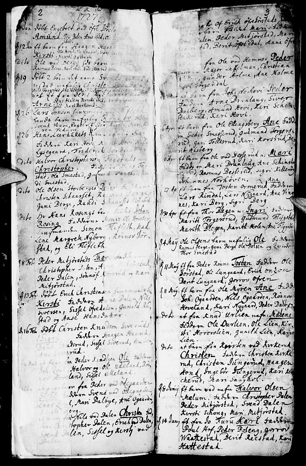 SAH, Fåberg prestekontor, Ministerialbok nr. 1, 1727-1775, s. 2-3