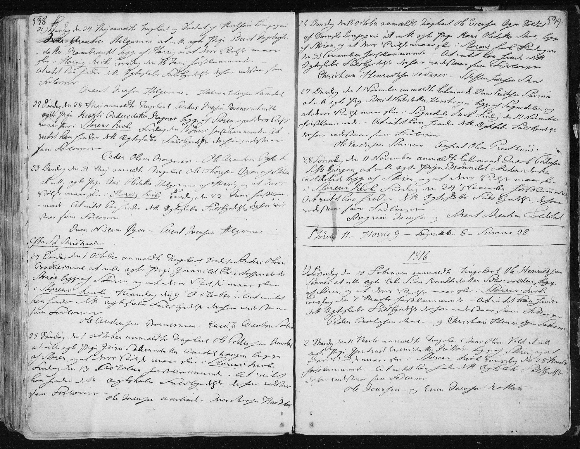 SAT, Ministerialprotokoller, klokkerbøker og fødselsregistre - Sør-Trøndelag, 687/L0992: Ministerialbok nr. 687A03 /1, 1788-1815, s. 538-539