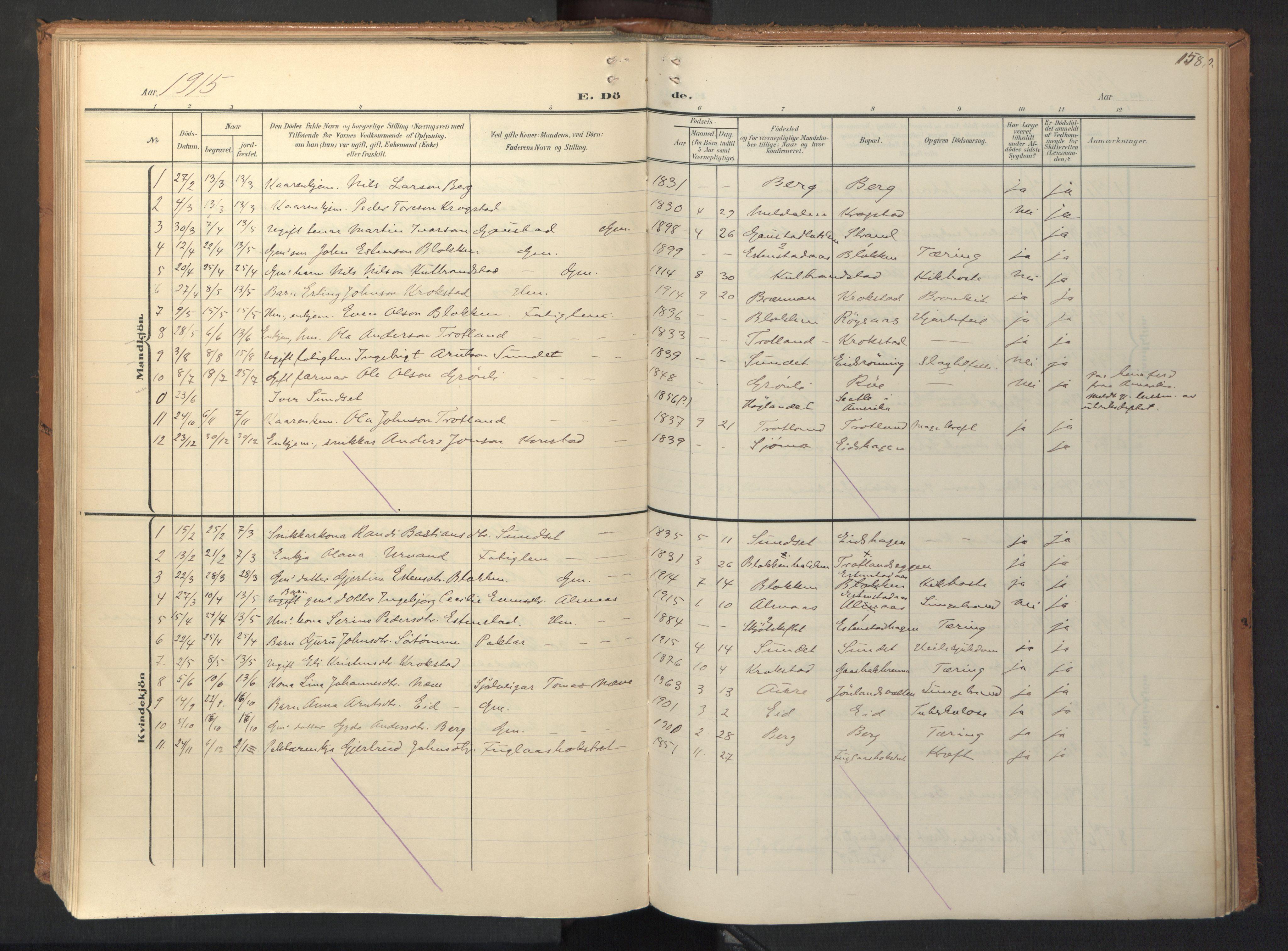 SAT, Ministerialprotokoller, klokkerbøker og fødselsregistre - Sør-Trøndelag, 694/L1128: Ministerialbok nr. 694A02, 1906-1931, s. 158