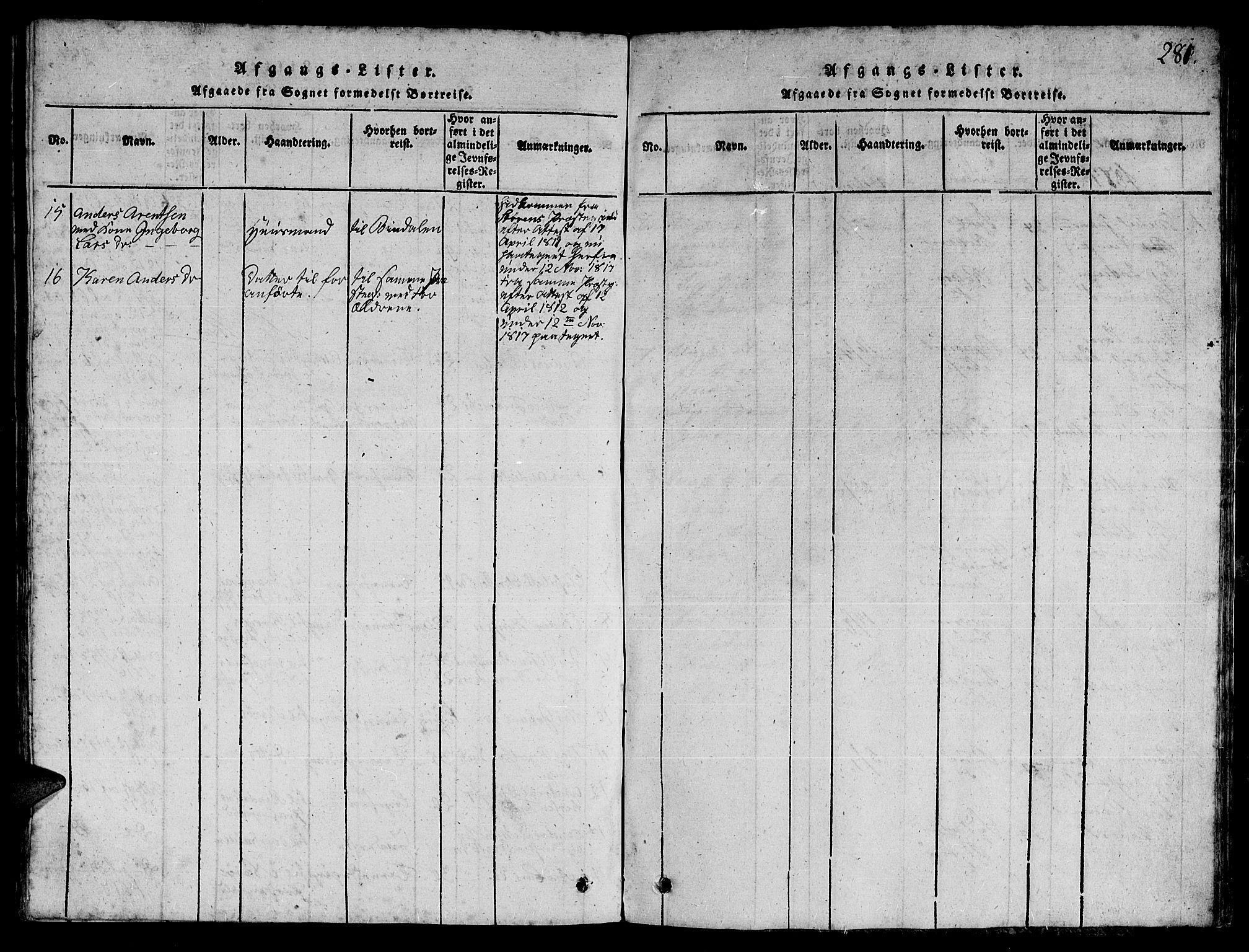 SAT, Ministerialprotokoller, klokkerbøker og fødselsregistre - Nord-Trøndelag, 780/L0648: Klokkerbok nr. 780C01 /1, 1815-1870, s. 281